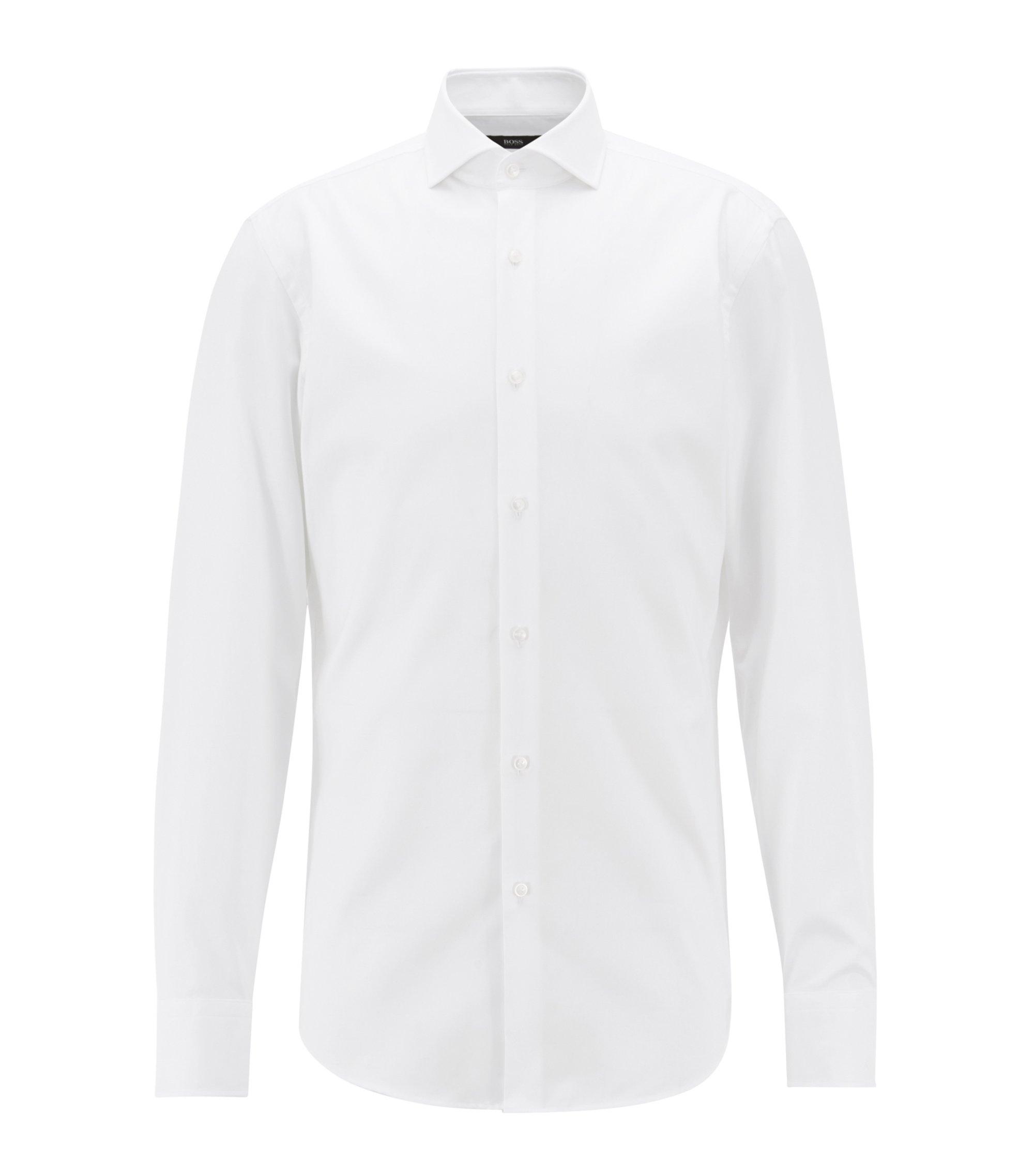 Camisa slim fit en sarga de algodón con cuello italiano, Blanco