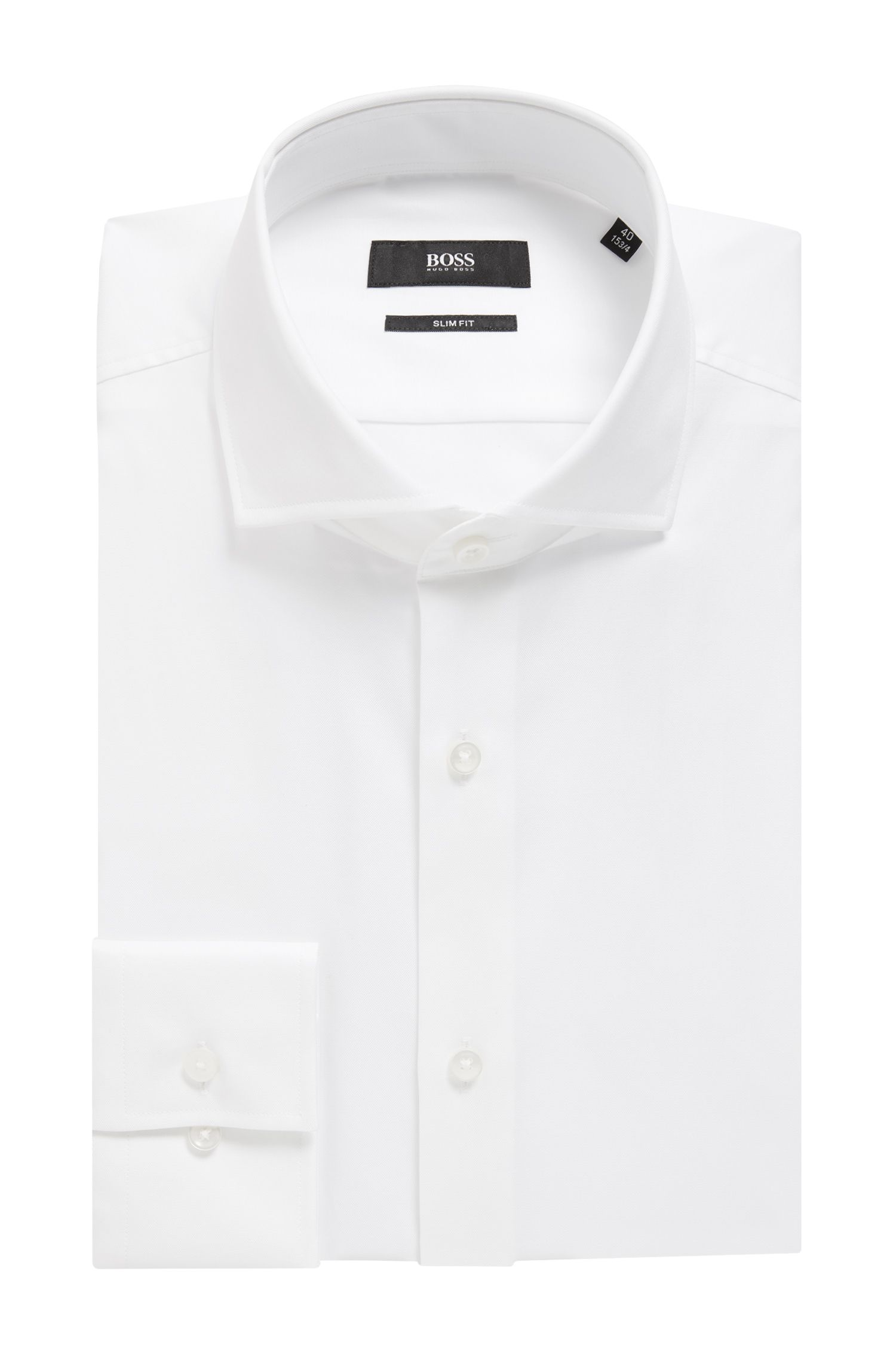 Slim-fit shirt in cotton twill with spread collar, White