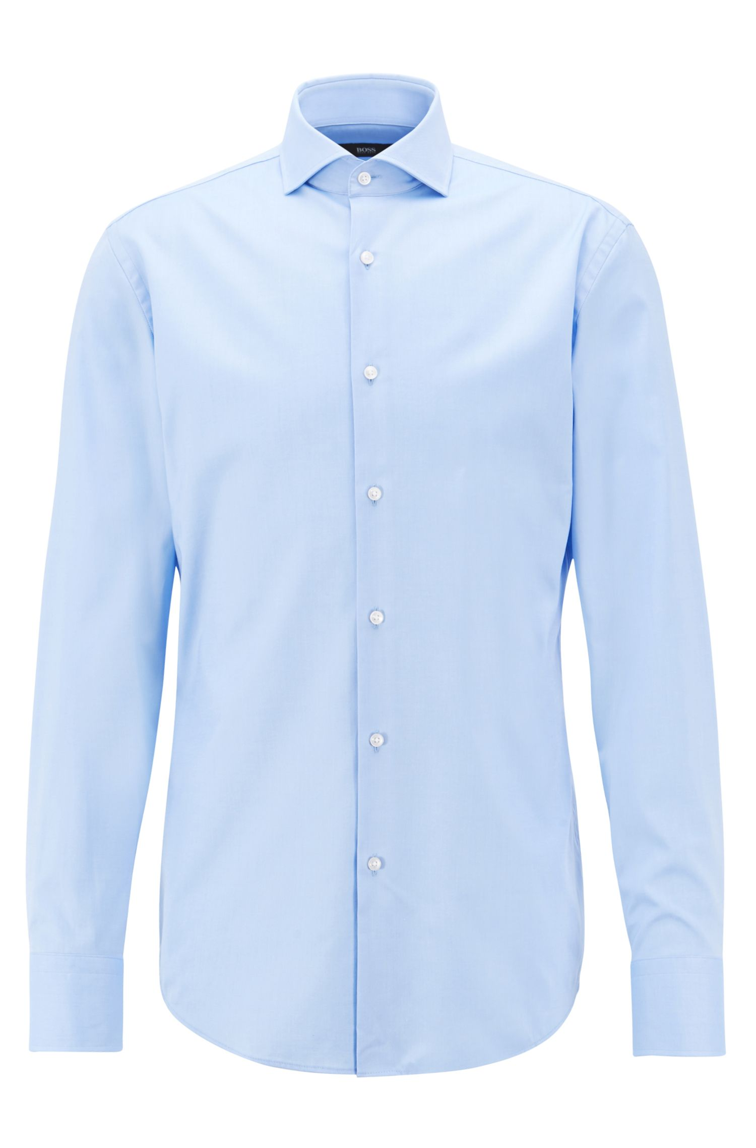 Slim-fit shirt in cotton twill with spread collar, Light Blue