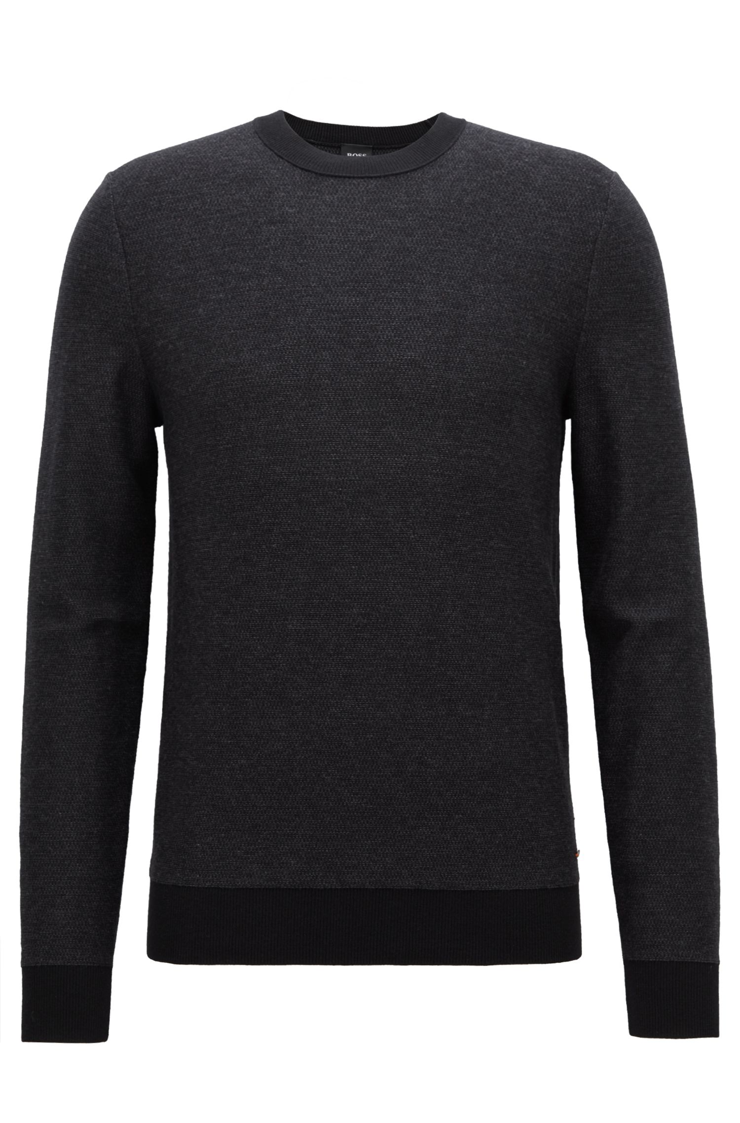 Knitted jacquard sweater with two-colour micro pattern, Black