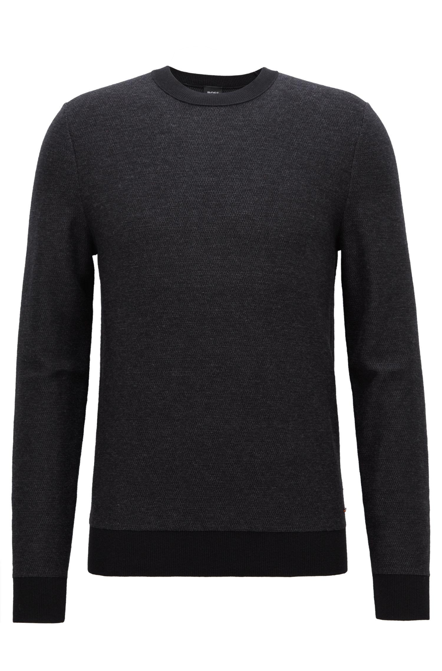 Jersey en jacquard de punto con microestampado a 2 colores, Negro