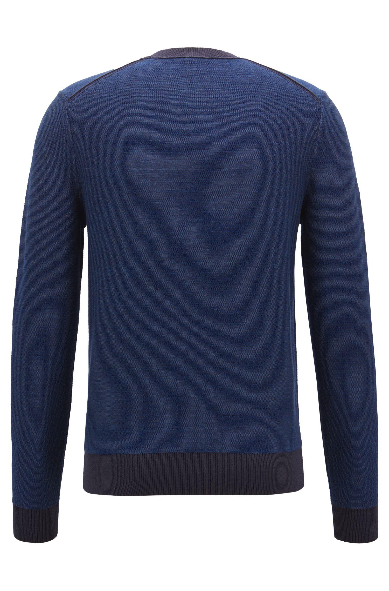 Jersey en jacquard de punto con microestampado a 2 colores, Azul oscuro