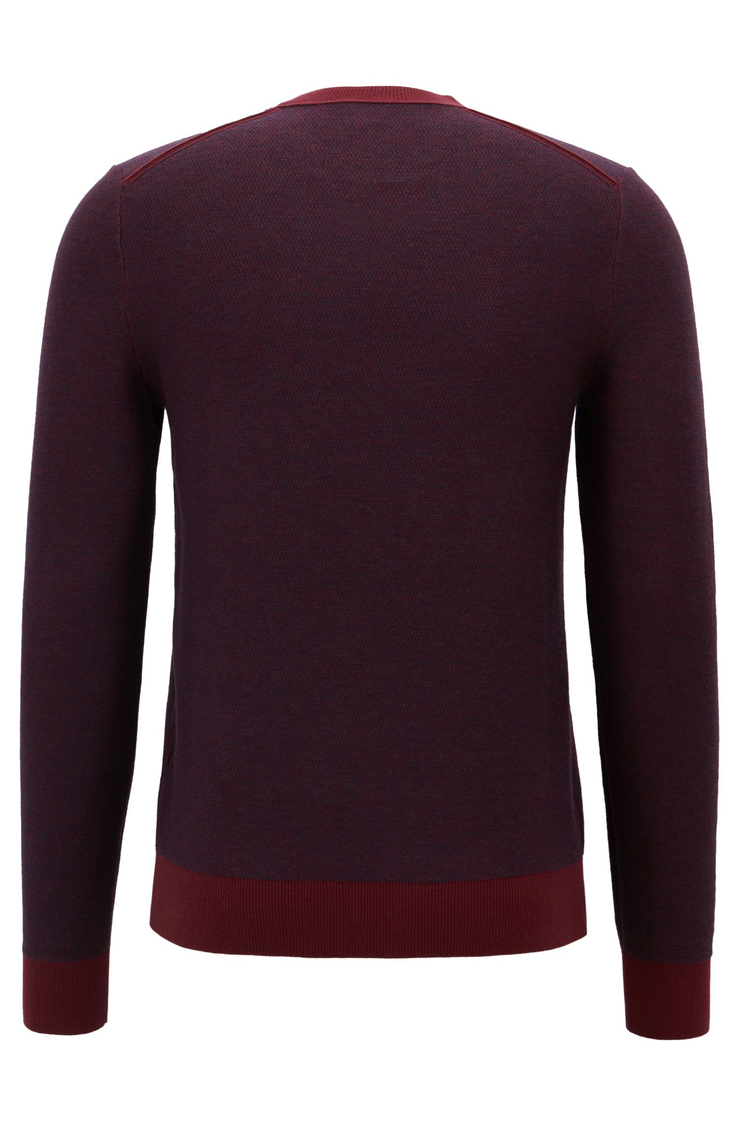 Knitted jacquard sweater with two-colour micro pattern, Dark Red