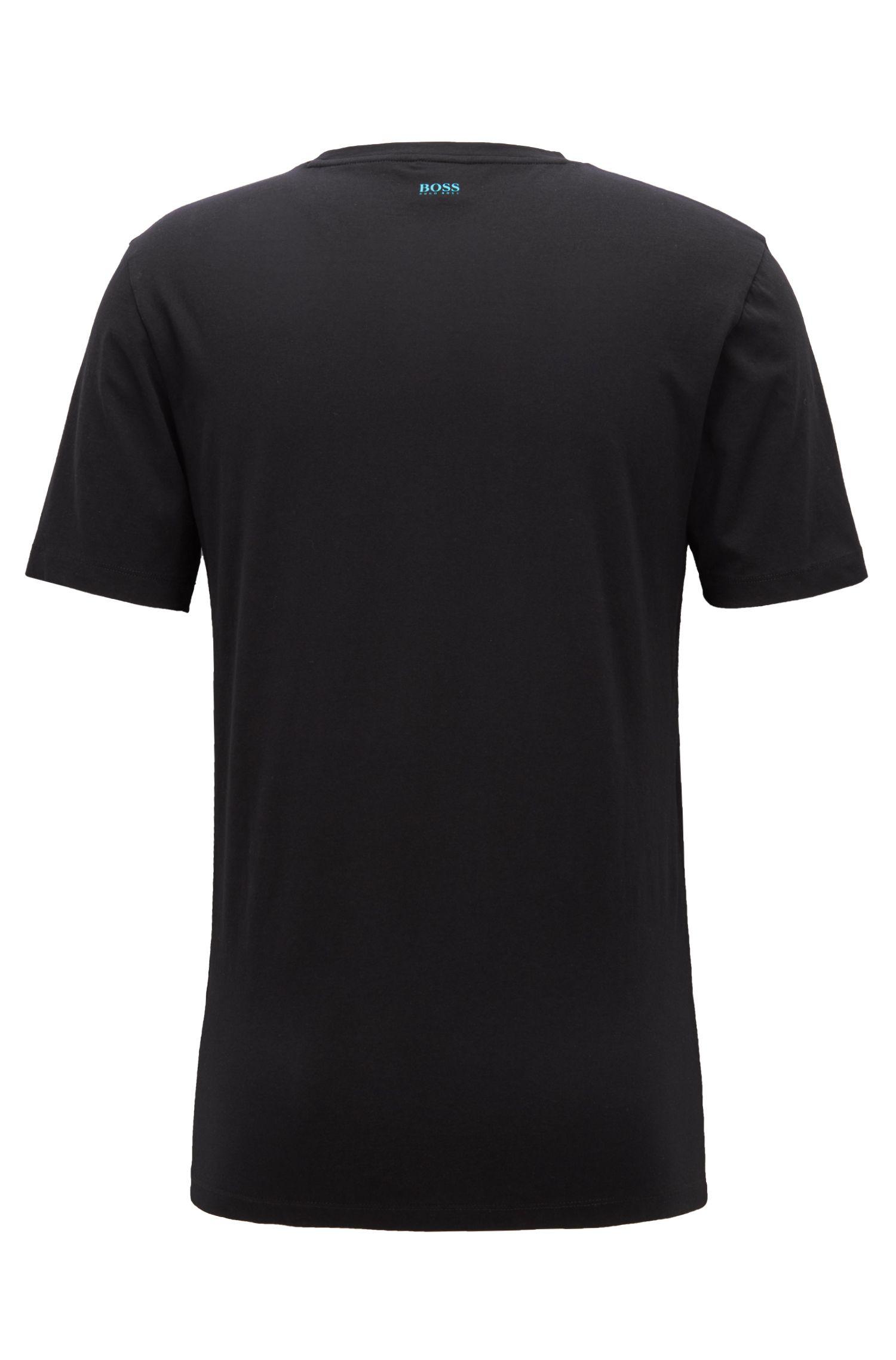 T-shirt a girocollo in cotone con stampa fotografica, Nero