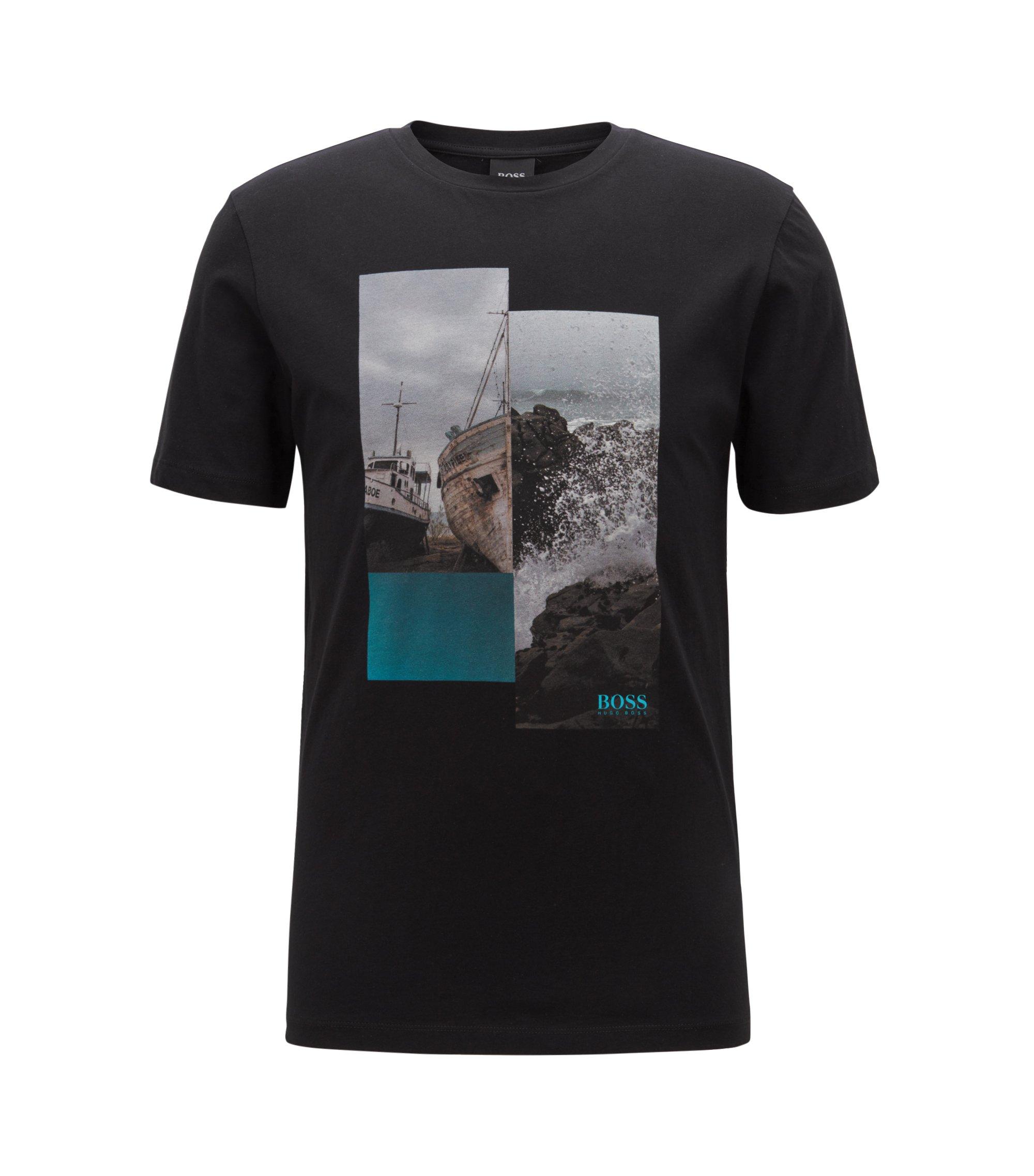 T-shirt à col ras-du-cou en coton à imprimé photographique, Noir