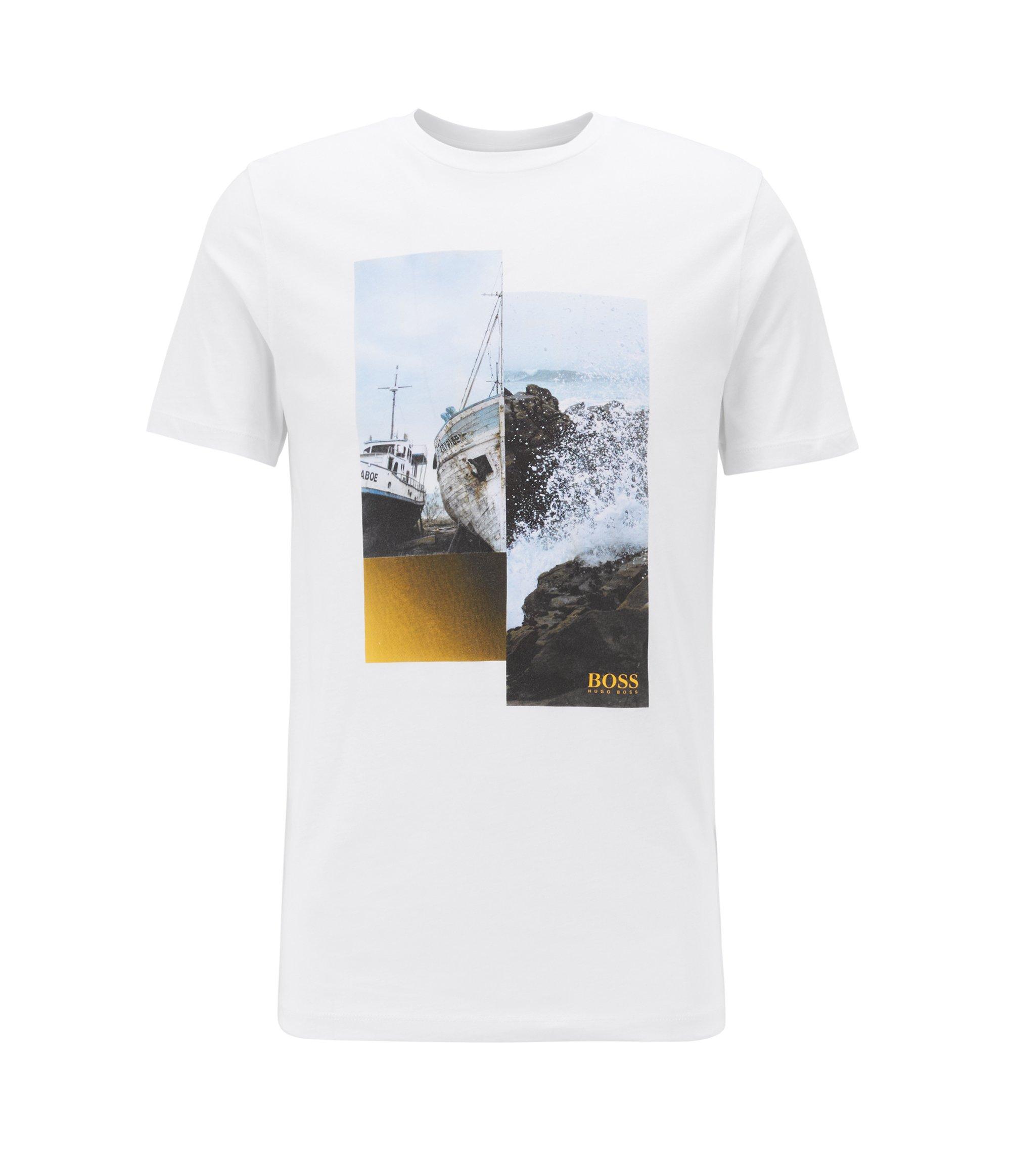 Camiseta de algodón con cuello redondo y estampado fotográfico, Blanco
