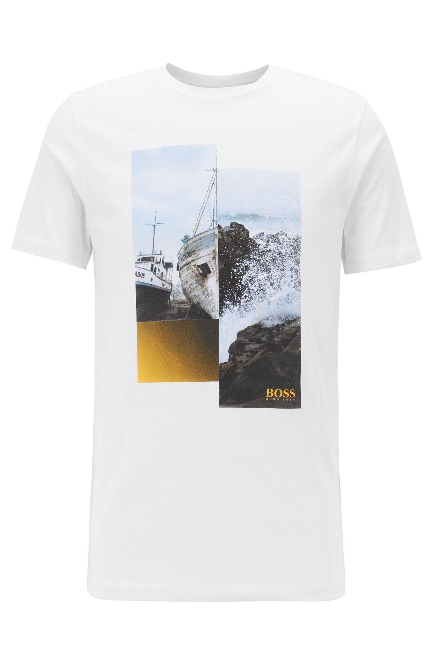 Katoenen T-shirt met ronde hals en fotografische print, Wit