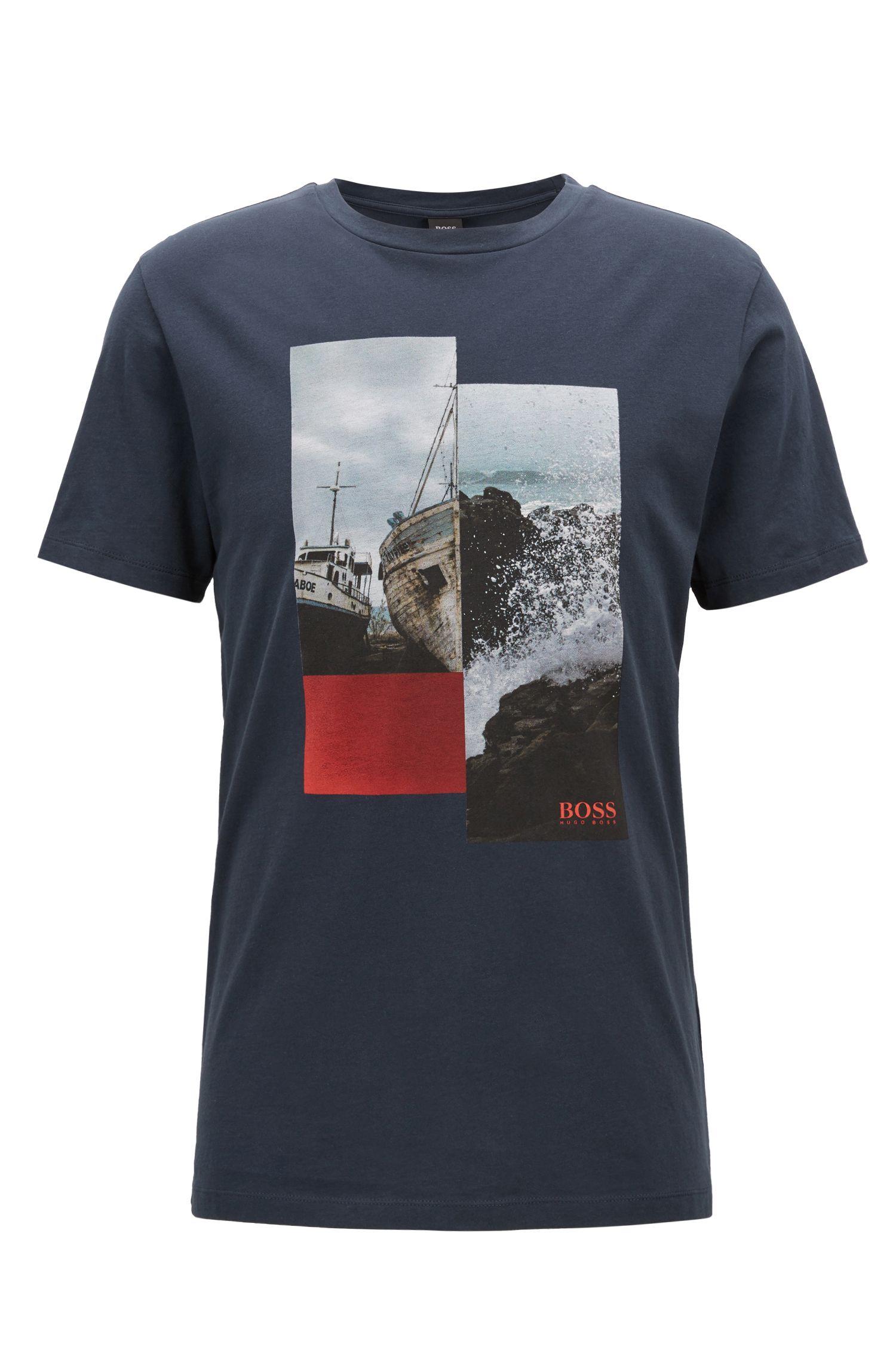 Camiseta de algodón con cuello redondo y estampado fotográfico, Azul oscuro