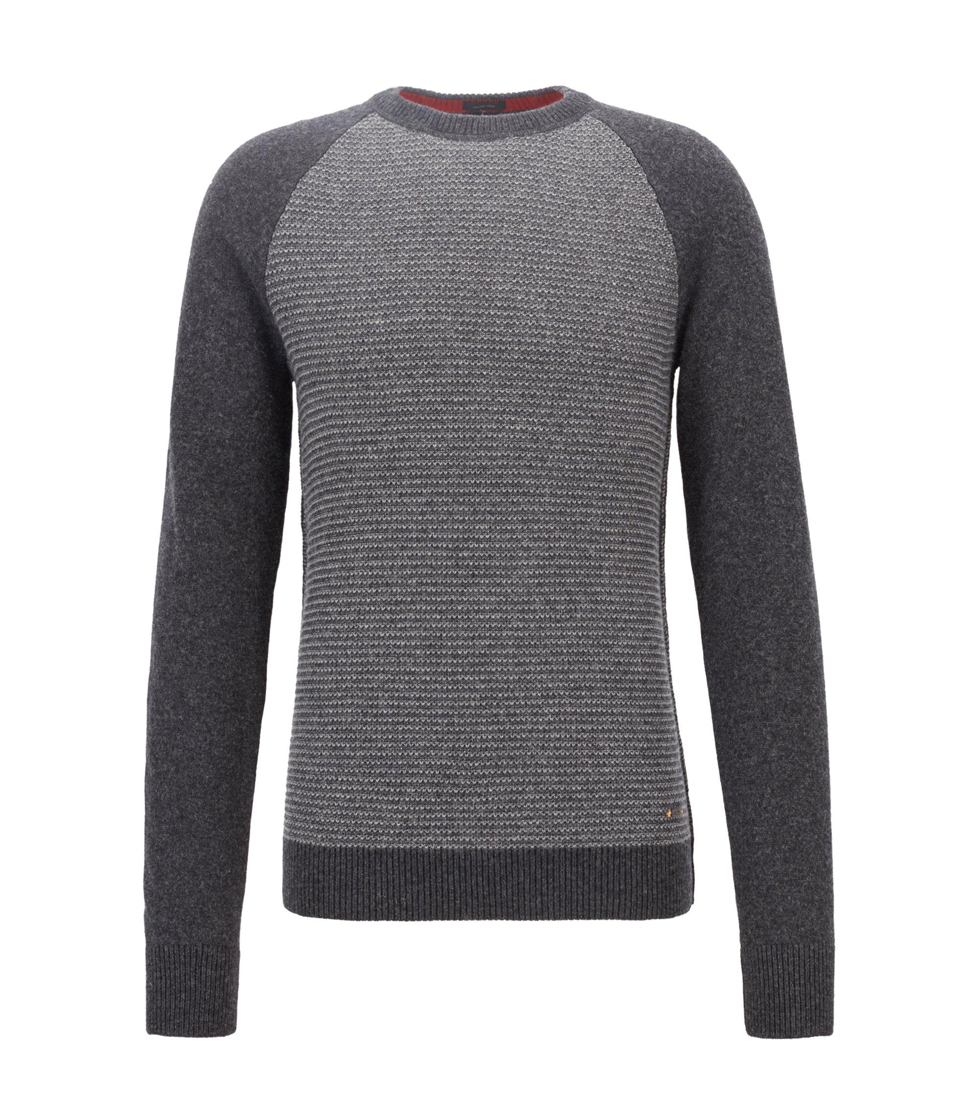 Pullover mit Rundhalsausschnitt aus italienischem Baumwoll-Woll-Mix, Dunkelgrau