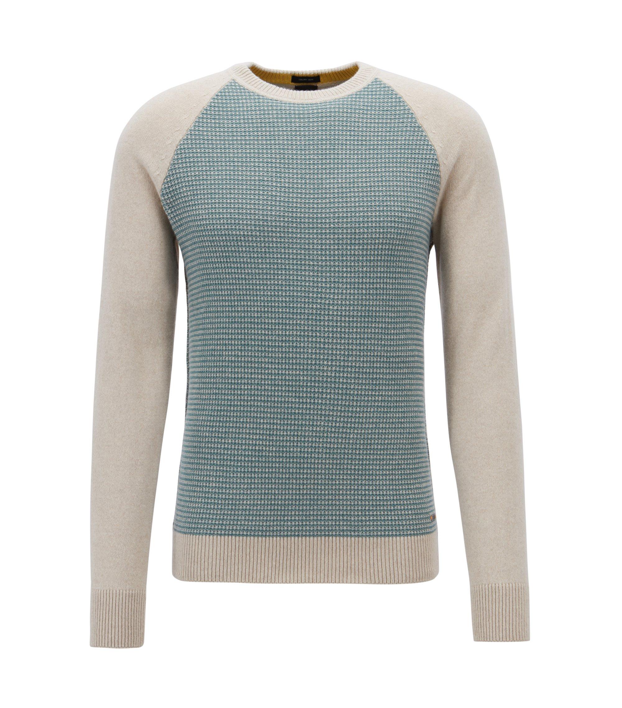 Pullover mit Rundhalsausschnitt aus italienischem Baumwoll-Woll-Mix, Beige