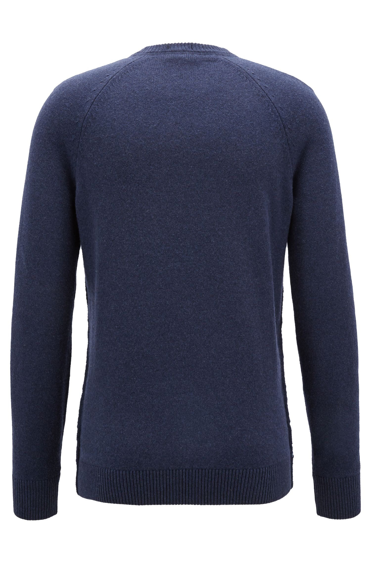 Crew-neck sweater in an Italian wool-cotton blend, Dark Blue