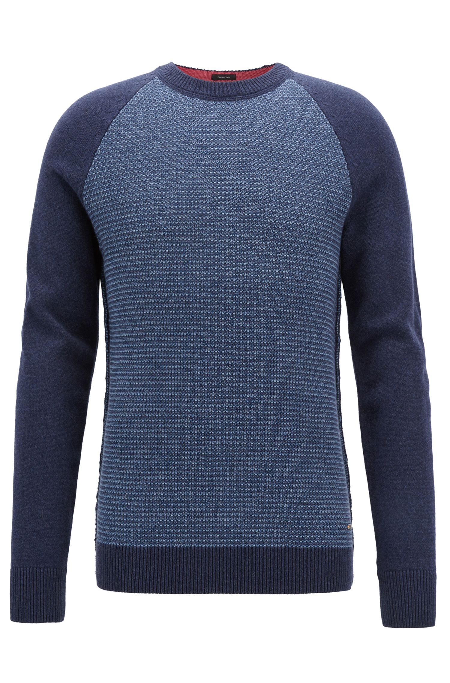 Crew-neck sweater in an Italian wool-cotton blend