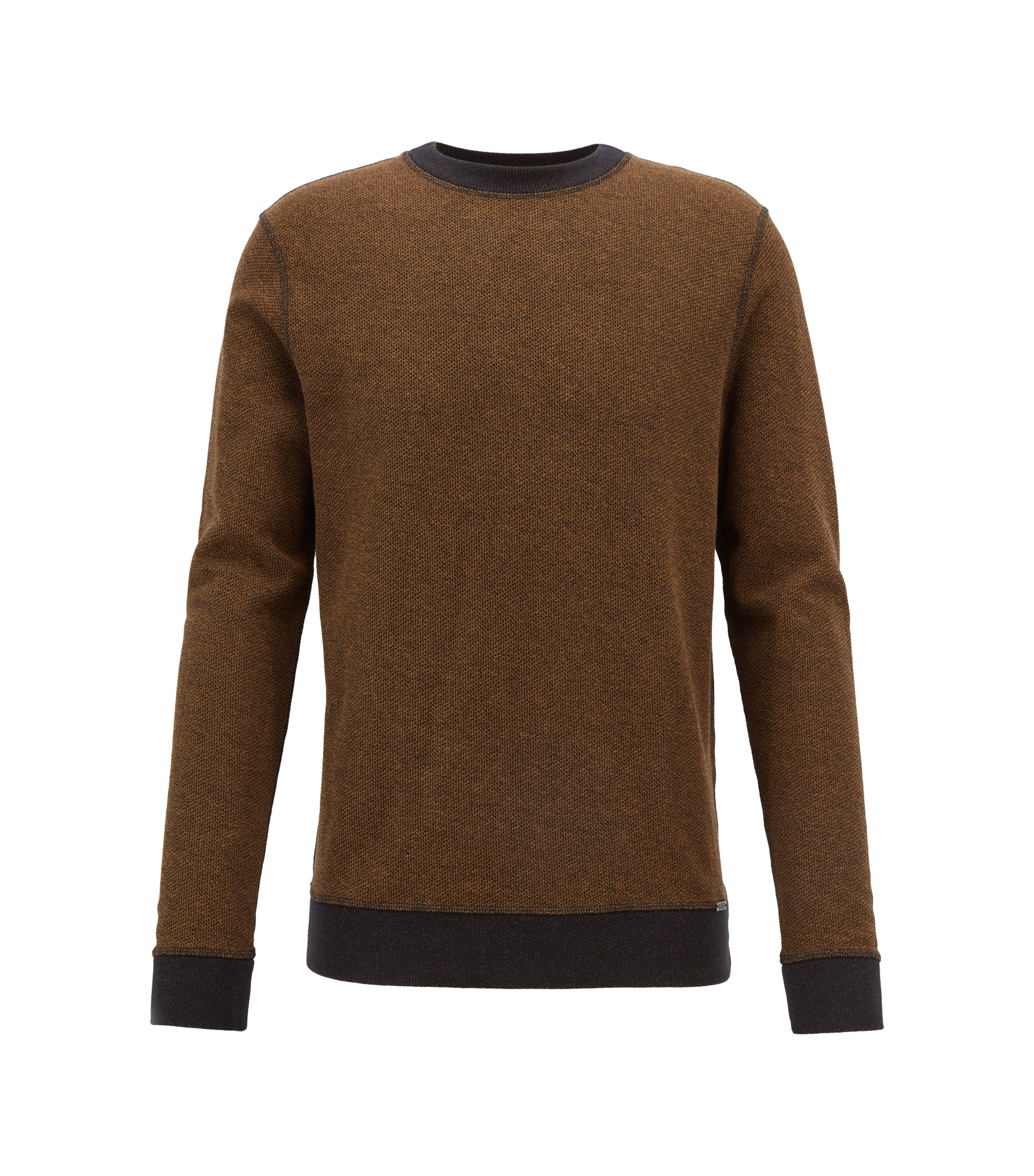 Reversible sweatshirt in mesh-structured cotton with contrast detailing, Brown