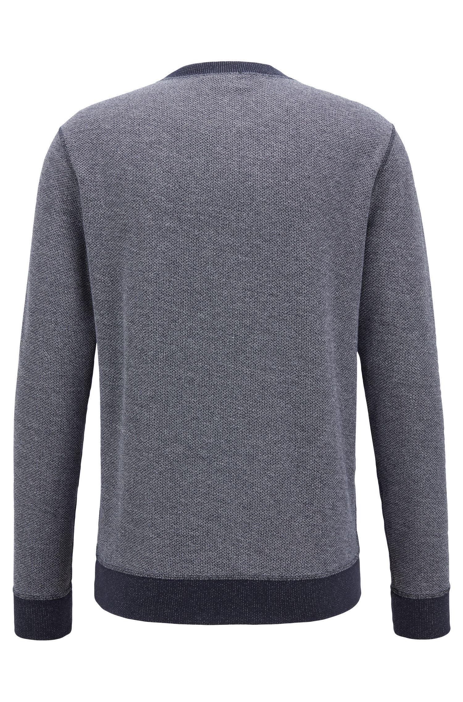 Tweezijdig te dragen sweater van katoen met meshstructuur en contrastdetails, Donkerblauw