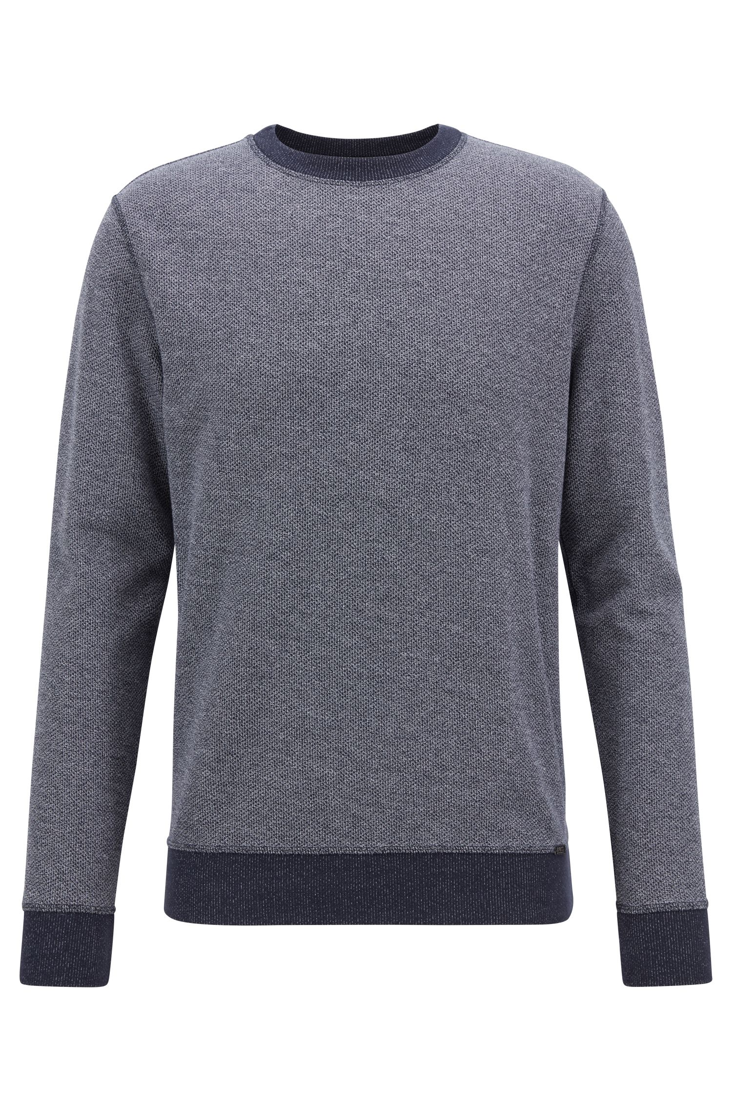 Reversible sweatshirt in mesh-structured cotton with contrast detailing, Dark Blue