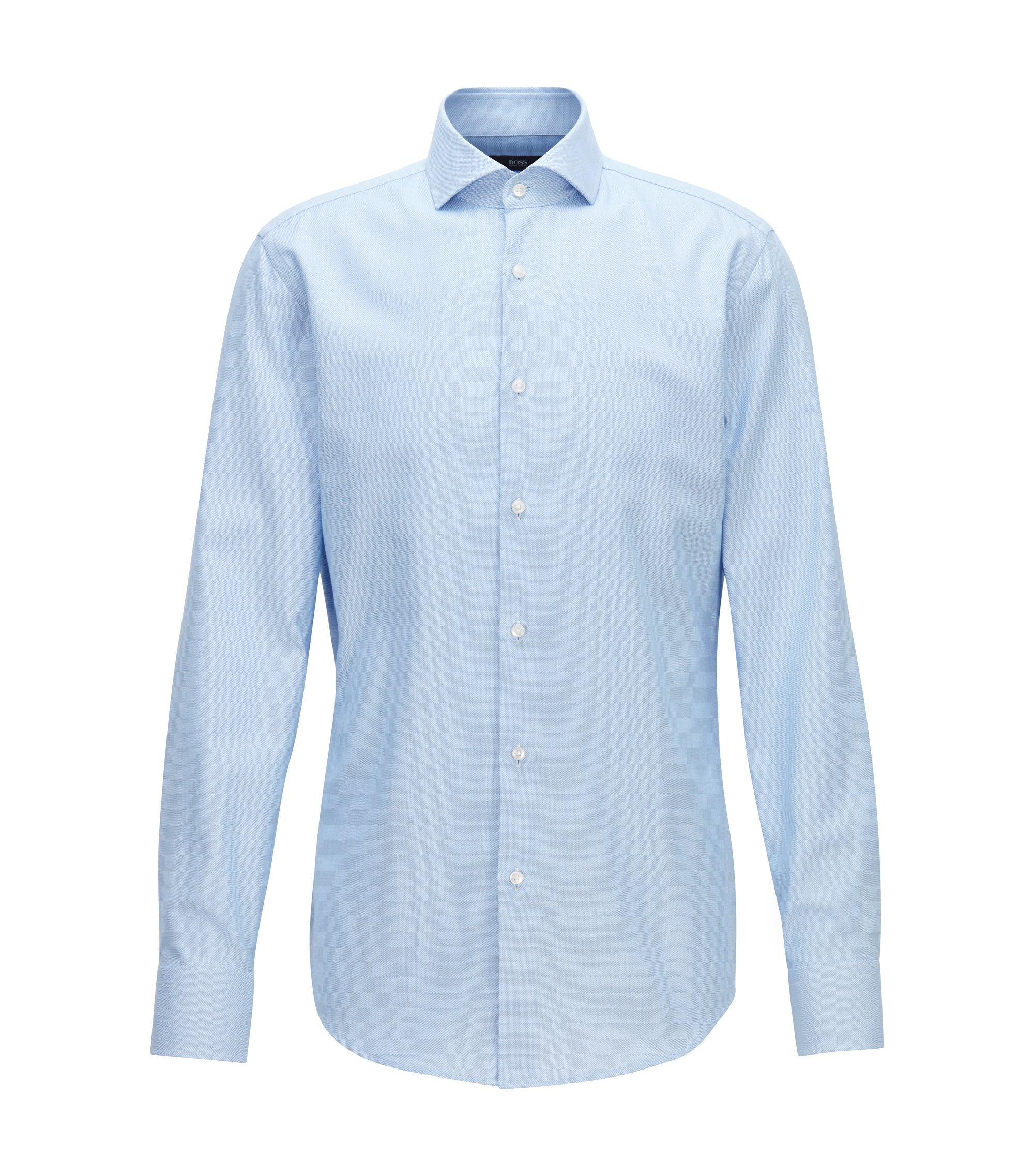 Slim-fit shirt in cotton twill with micro structure, Blue