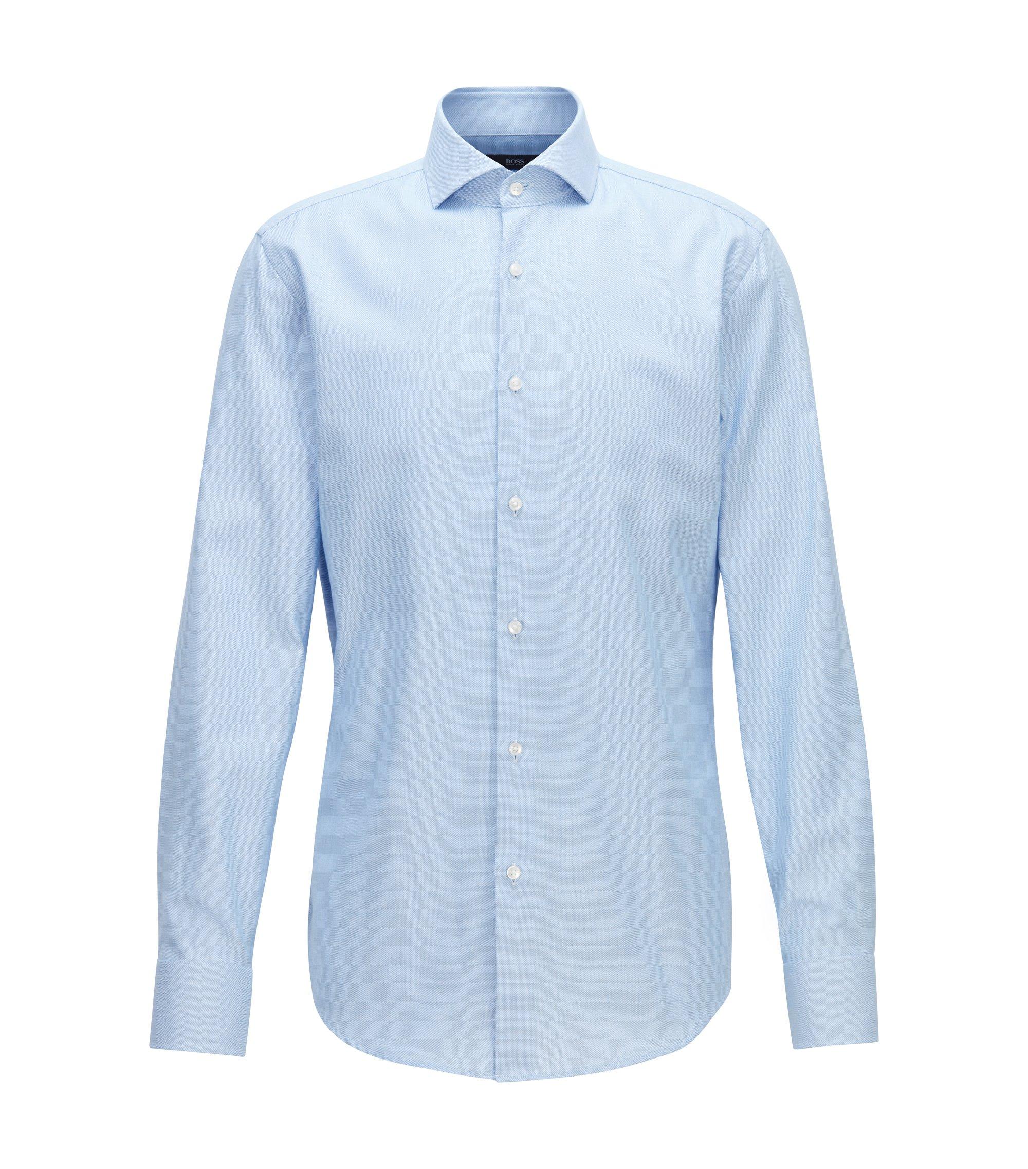 Camisa slim fit en sarga de algodón con microestructura, Azul