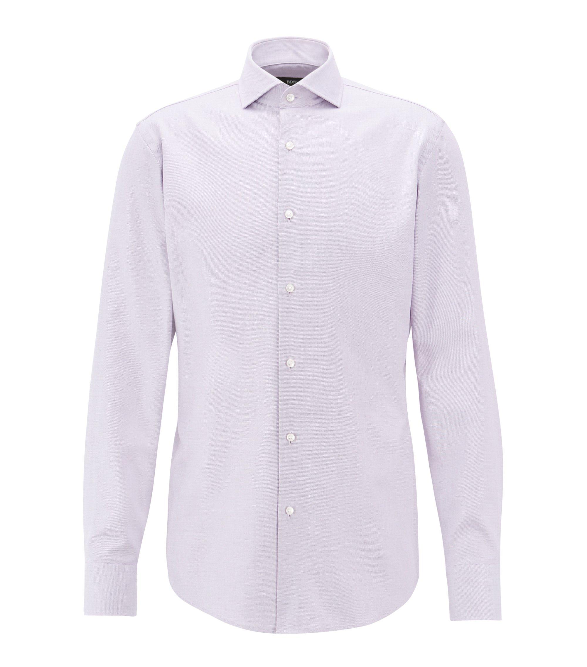 Camisa slim fit en sarga de algodón con microestructura, Lila