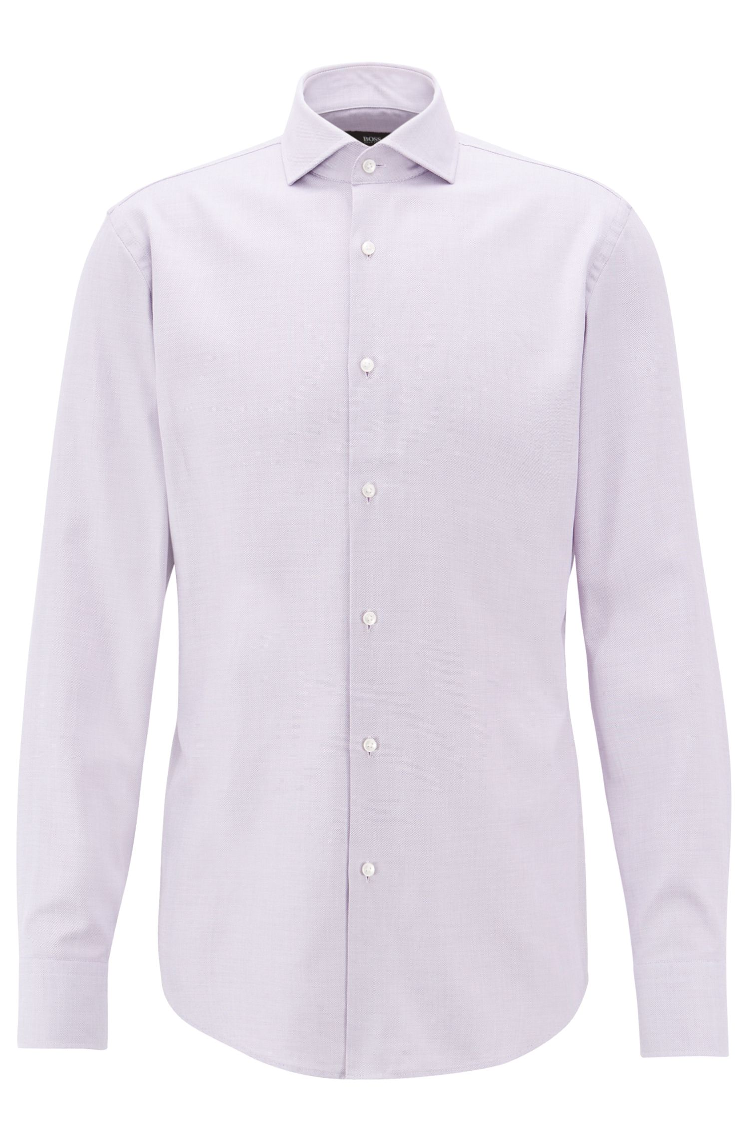Slim-fit shirt in cotton twill with micro structure, Purple