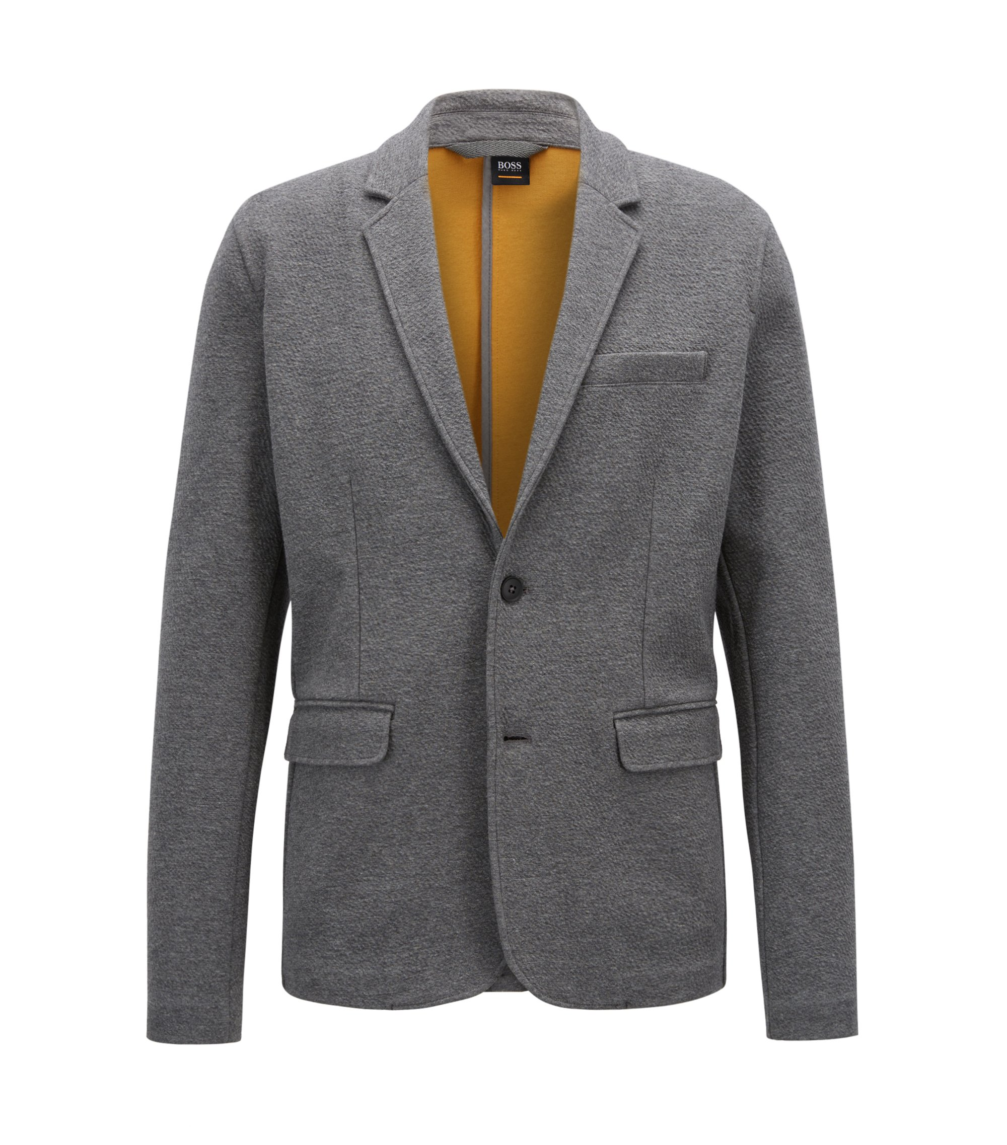 Blazer in stretch jersey with pop-colour detail, Dark Grey