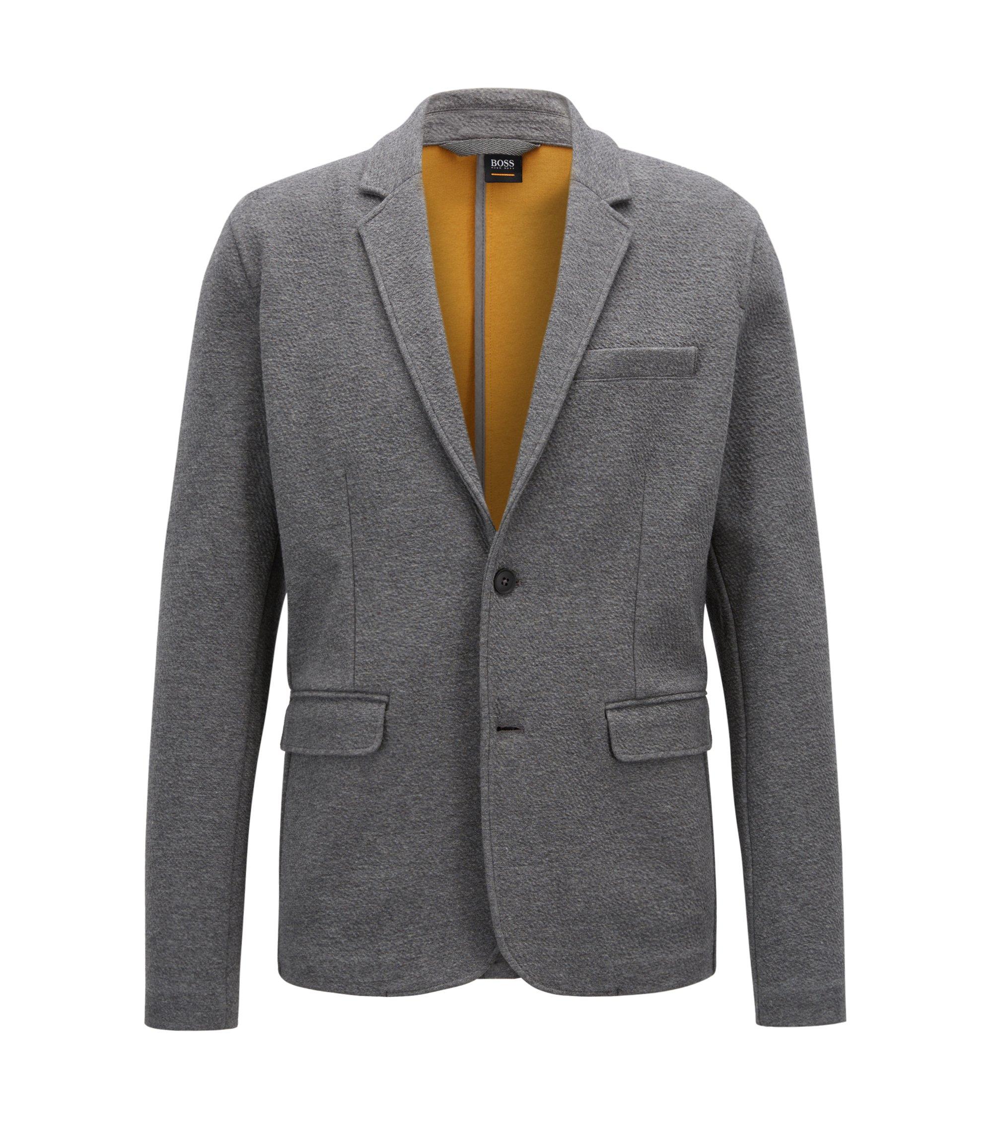 Blazer in jersey elasticizzato con dettaglio dal colore vivace, Grigio scuro