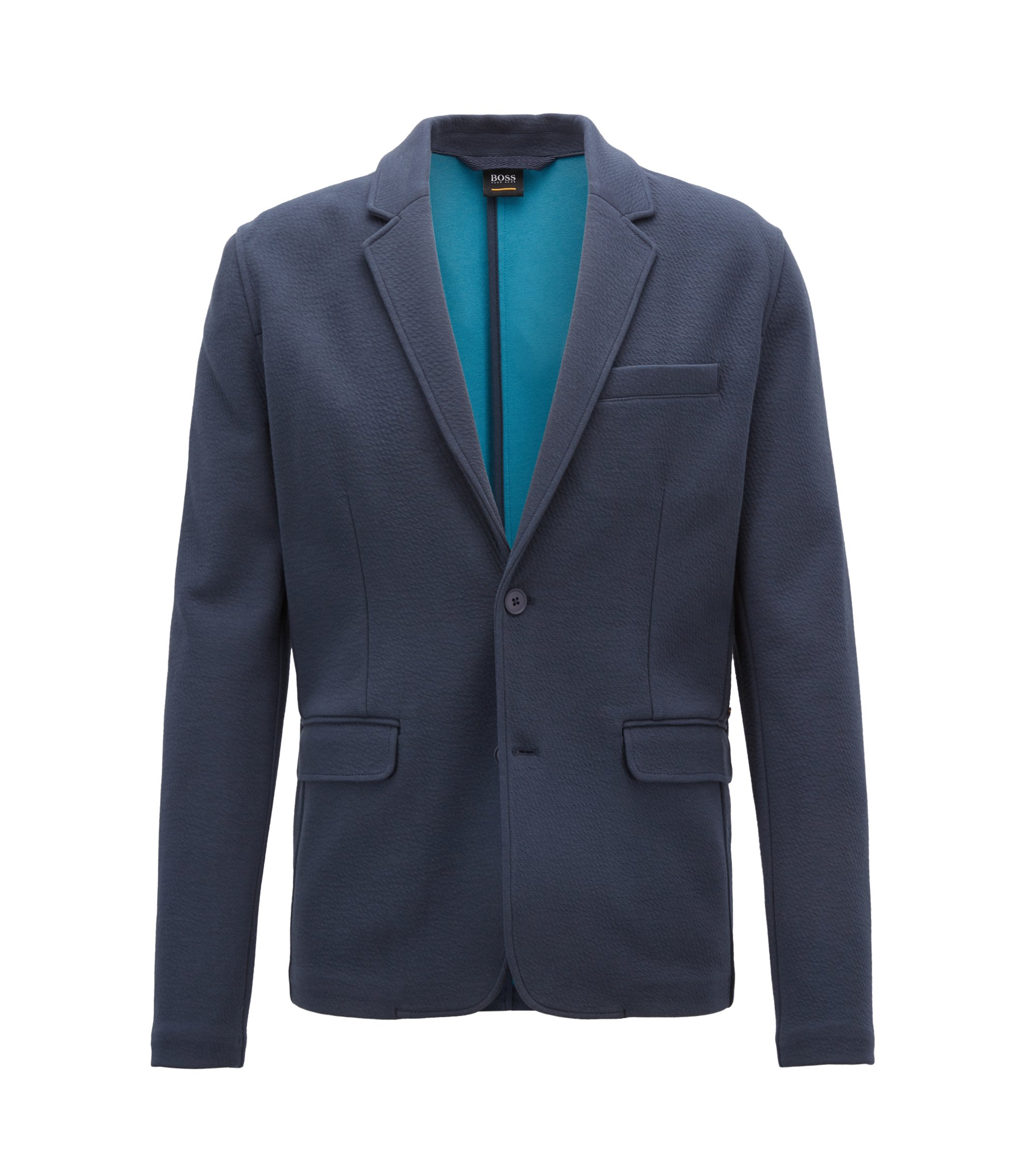 Blazer en jersey stretch rehaussé de couleur vive, Bleu foncé