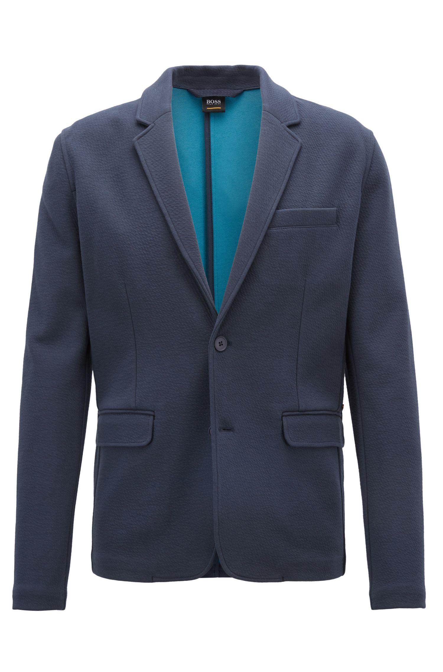 Sakko aus gebondetem Stretch-Jersey mit Farbkontrast, Dunkelblau