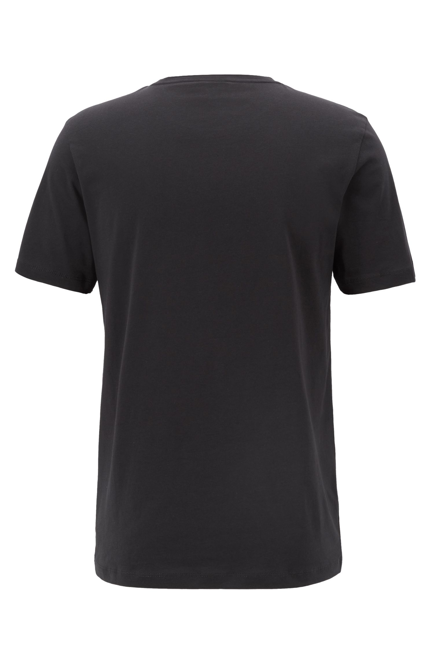 Crew-neck T-shirt in cotton with large logo print, Black