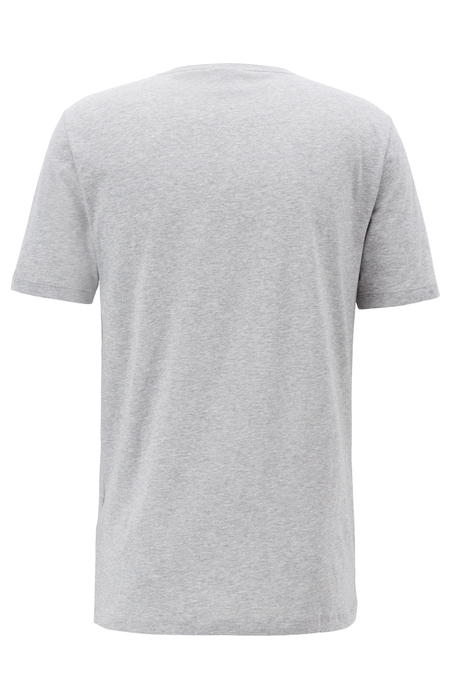 Crew-neck T-shirt in cotton with large logo print, Light Grey