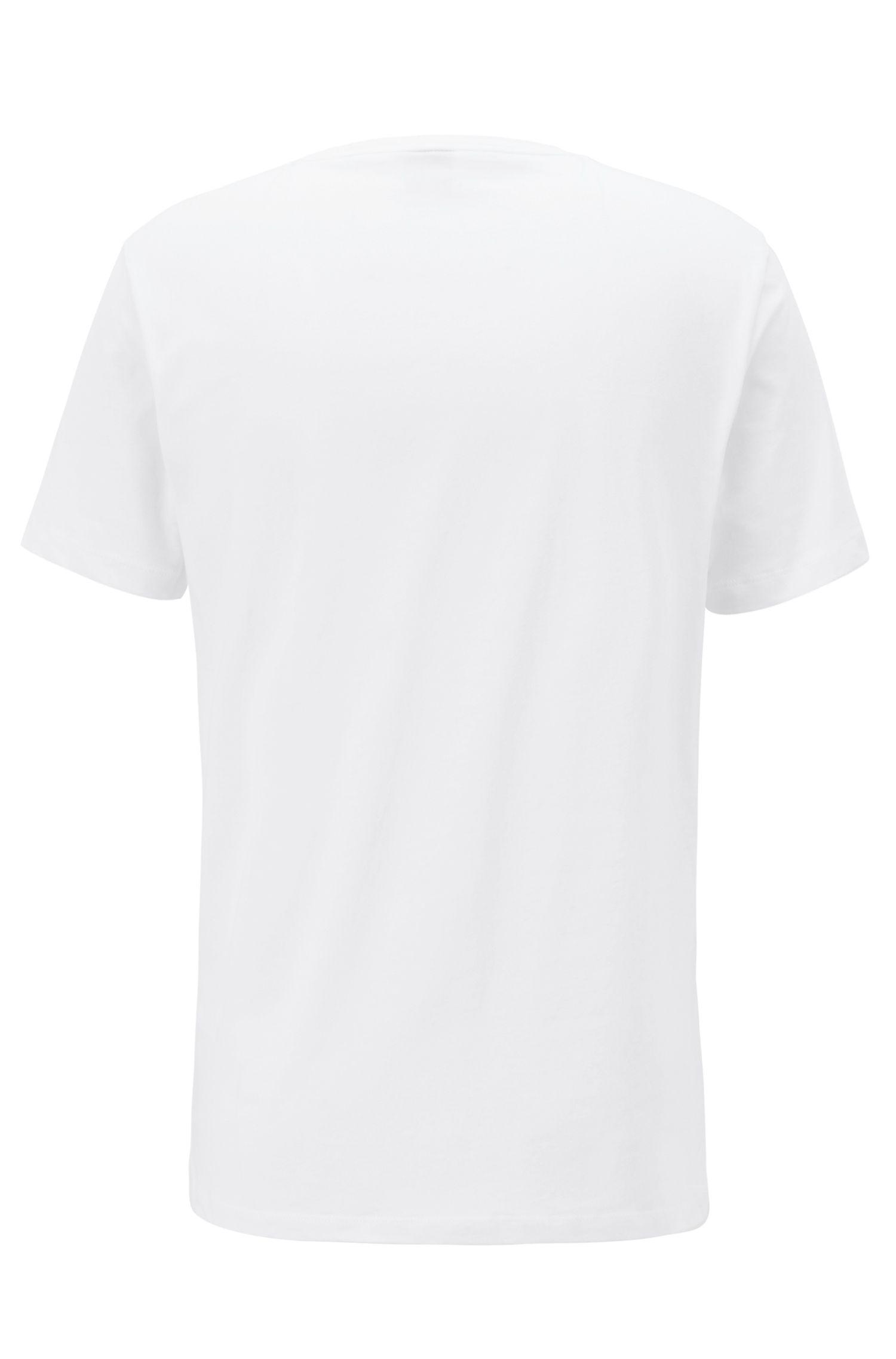 T-shirt met ronde hals van katoen met groot logoprint, Wit