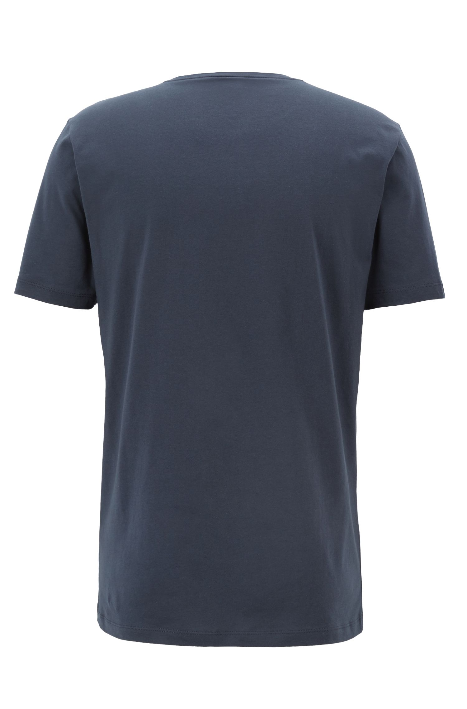 Crew-neck T-shirt in cotton with large logo print, Dark Blue