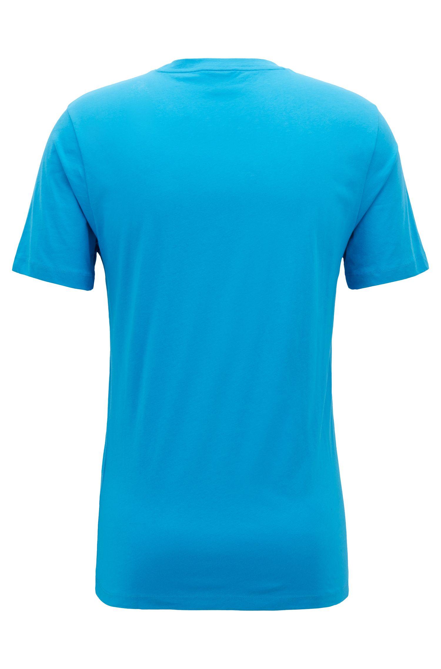 Camiseta de cuello redondo en algodón con un gran logo estampado, Azul
