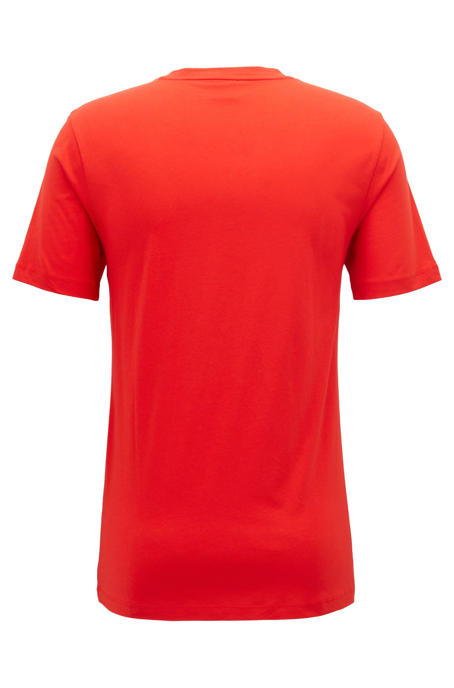 Crew-neck T-shirt in cotton with large logo print, Red