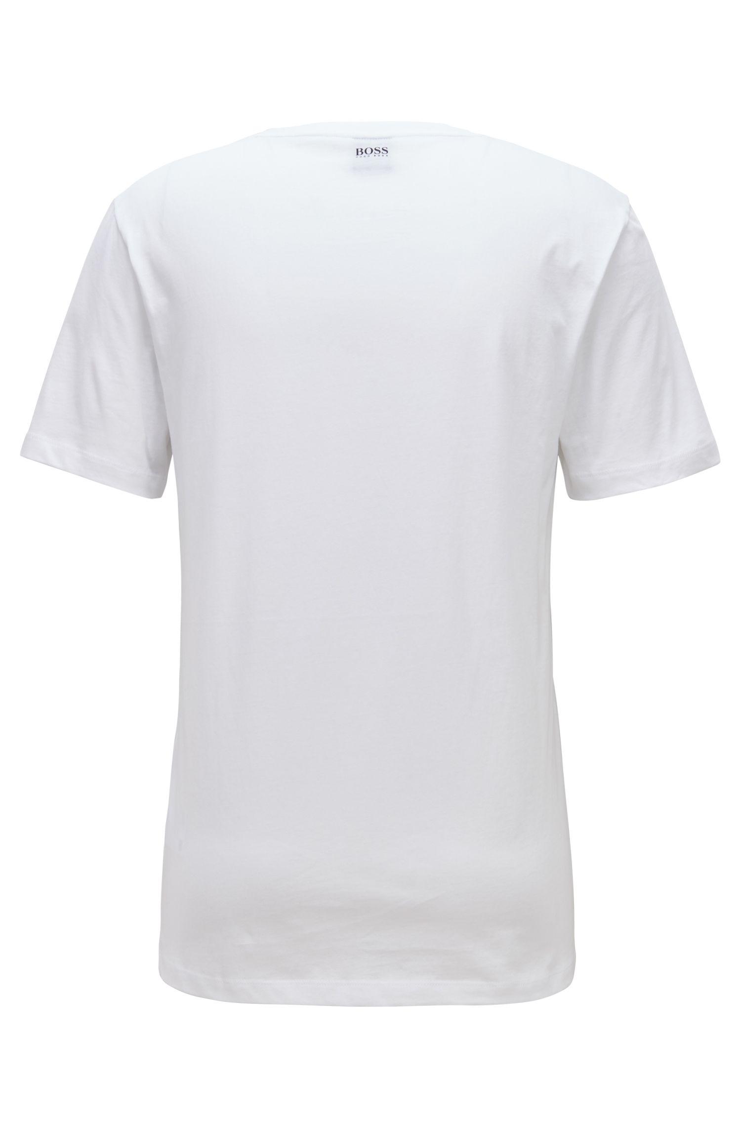 T-shirt à col ras-du-cou à imprimé graphique réalisé avec des encres à base d'eau, Blanc