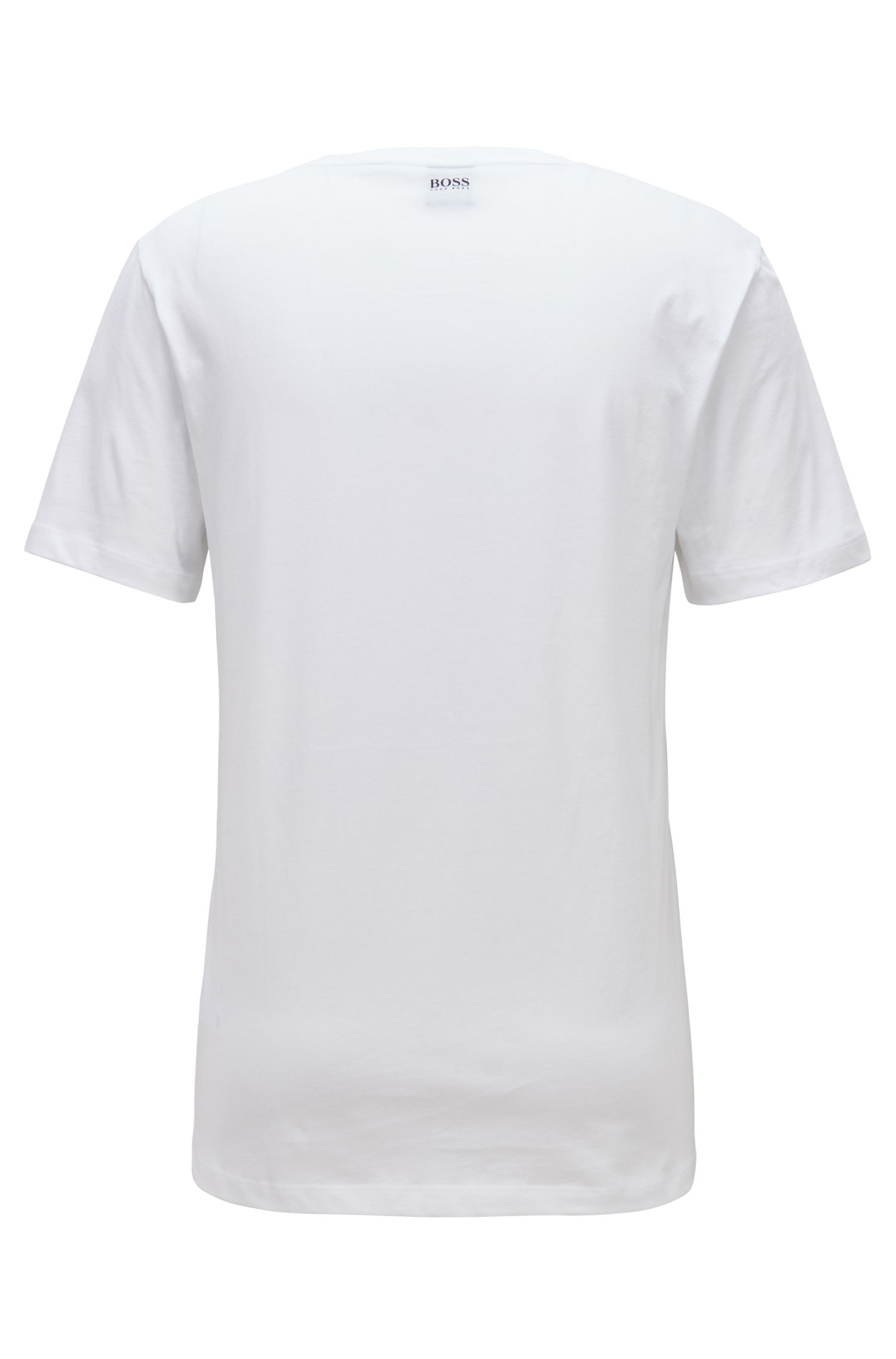 Camiseta de cuello redondo con estampado gráfico a base de agua, Blanco