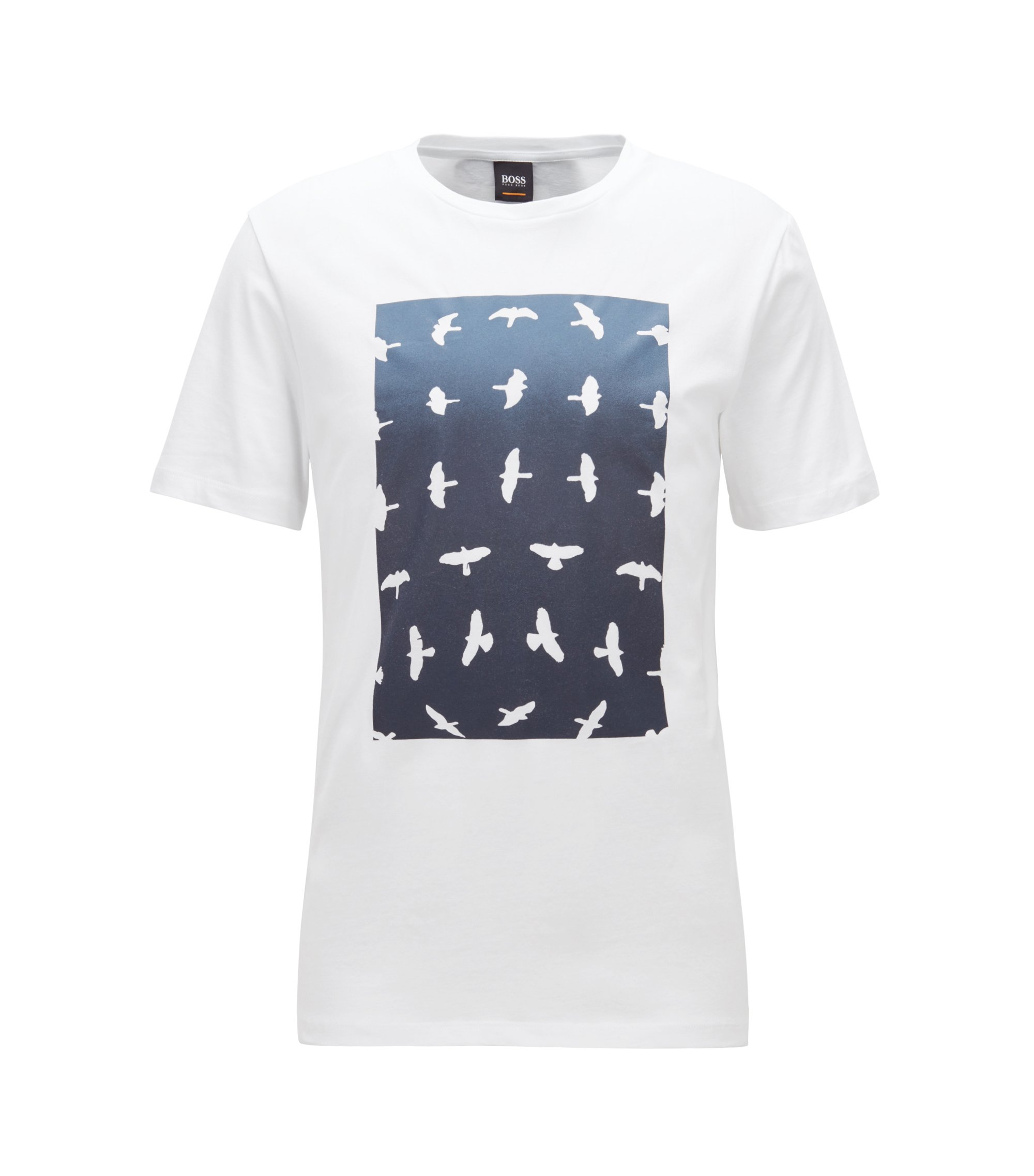 T-shirt met ronde hals en grafische aquarelprint, Wit