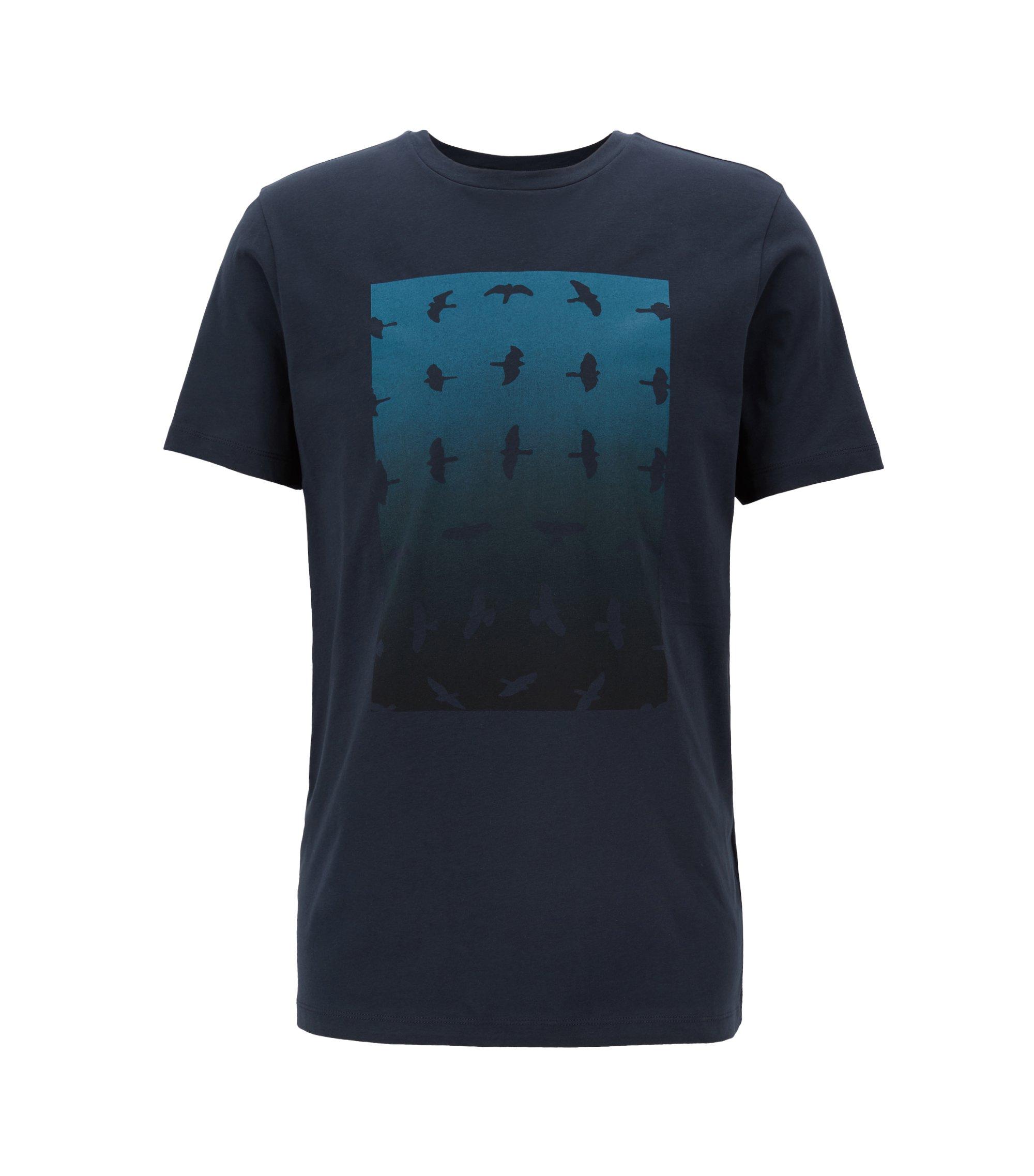 T-shirt met ronde hals en grafische aquarelprint, Donkerblauw