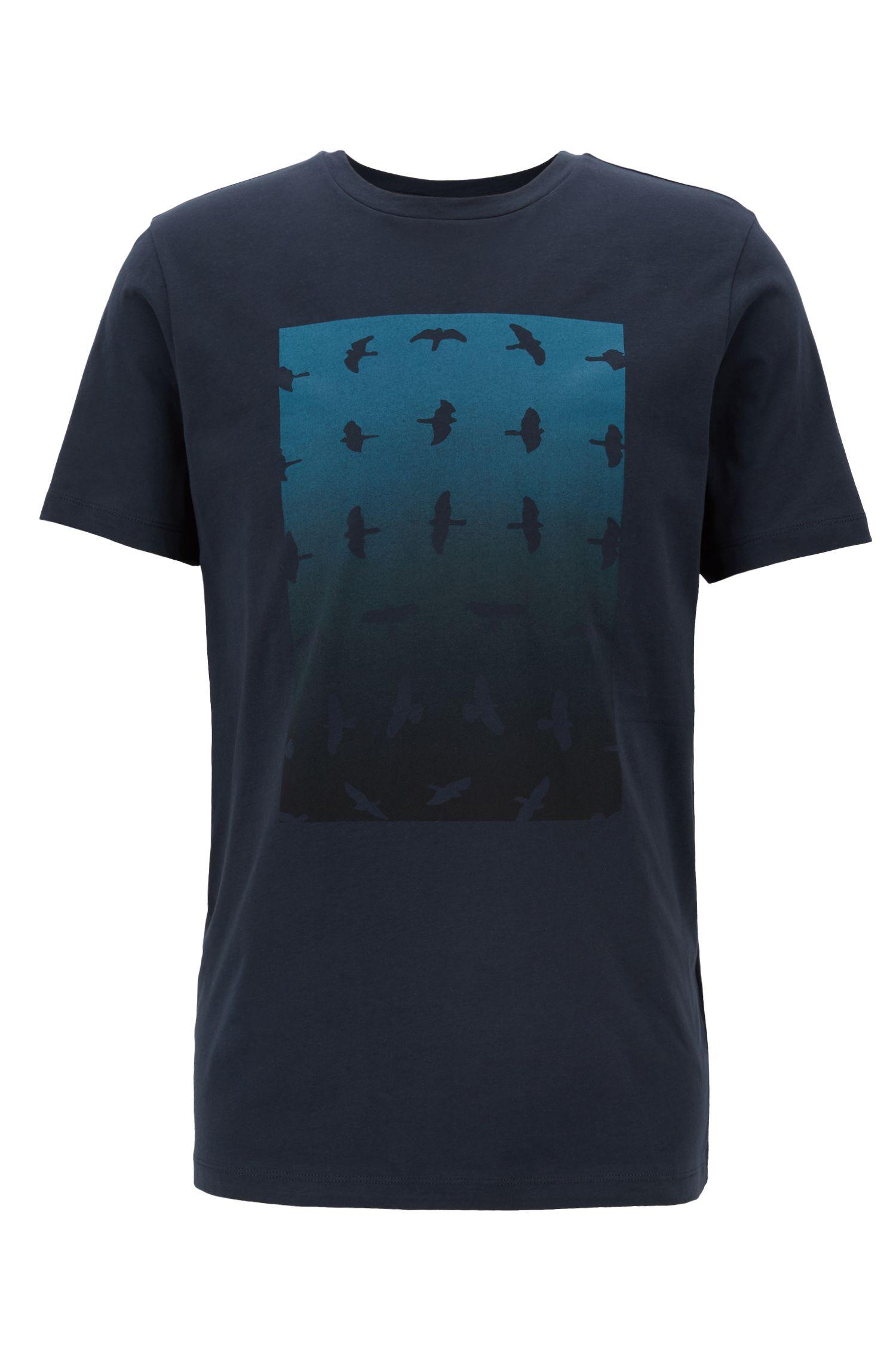 Camiseta de cuello redondo con estampado gráfico a base de agua, Azul oscuro