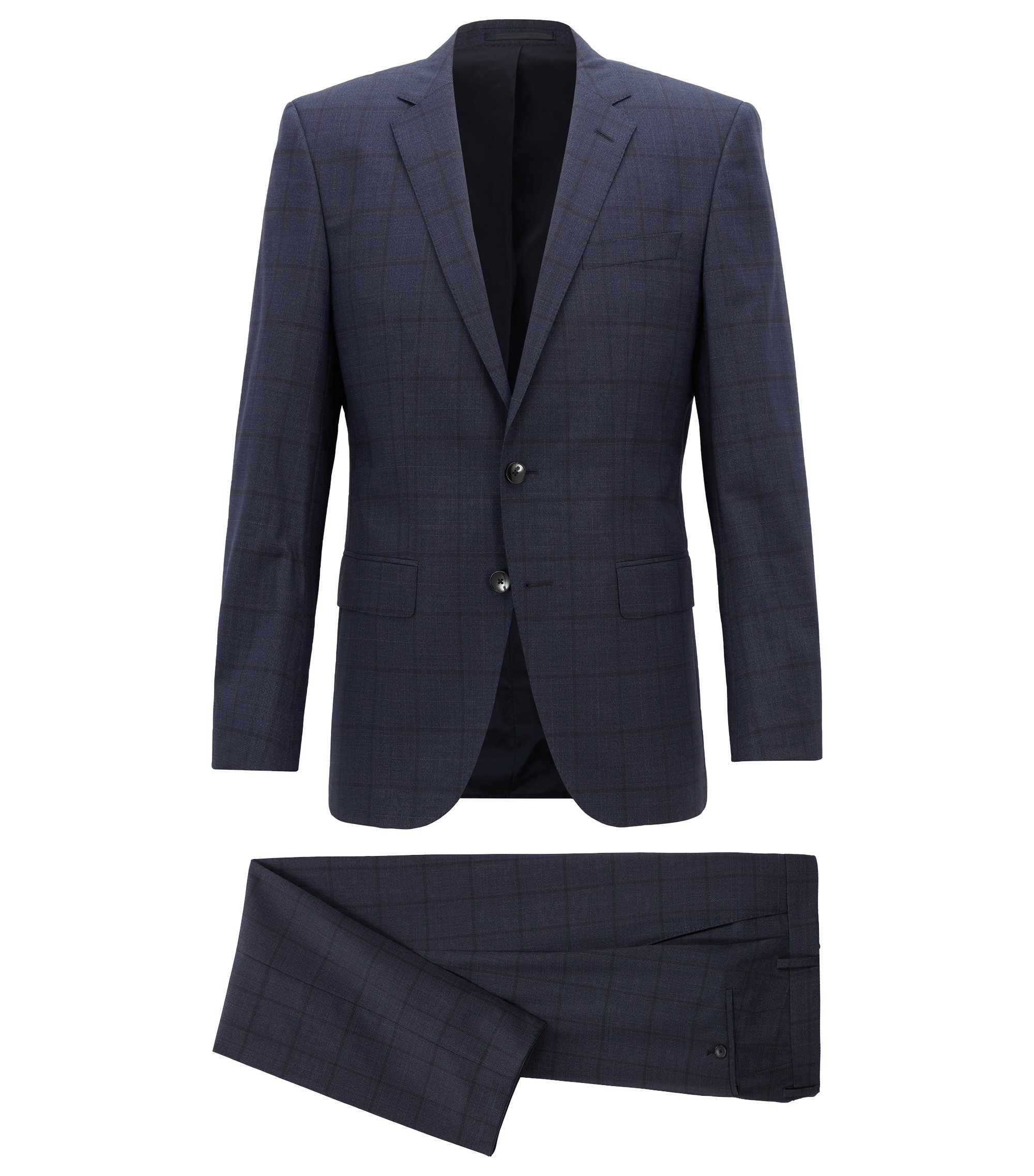 Slim-fit suit in virgin wool with plain check, Dark Blue
