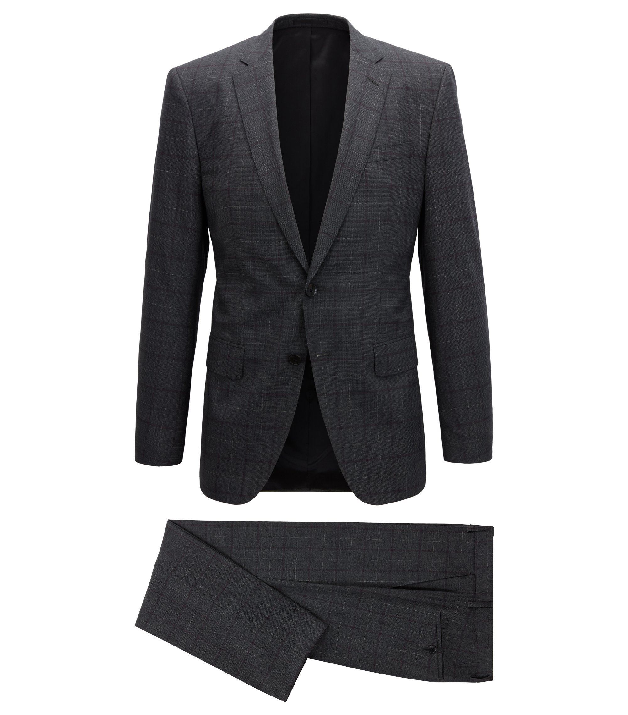 Slim-fit suit in virgin wool with plain check, Dark Purple