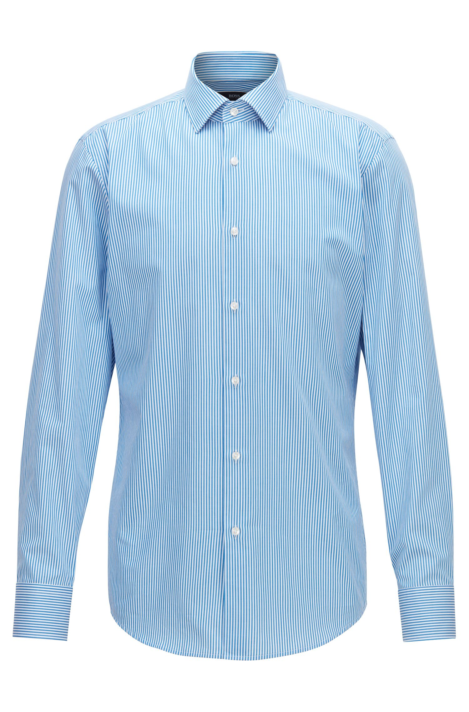 Slim-fit shirt in cotton twill with vertical stripes, Blue