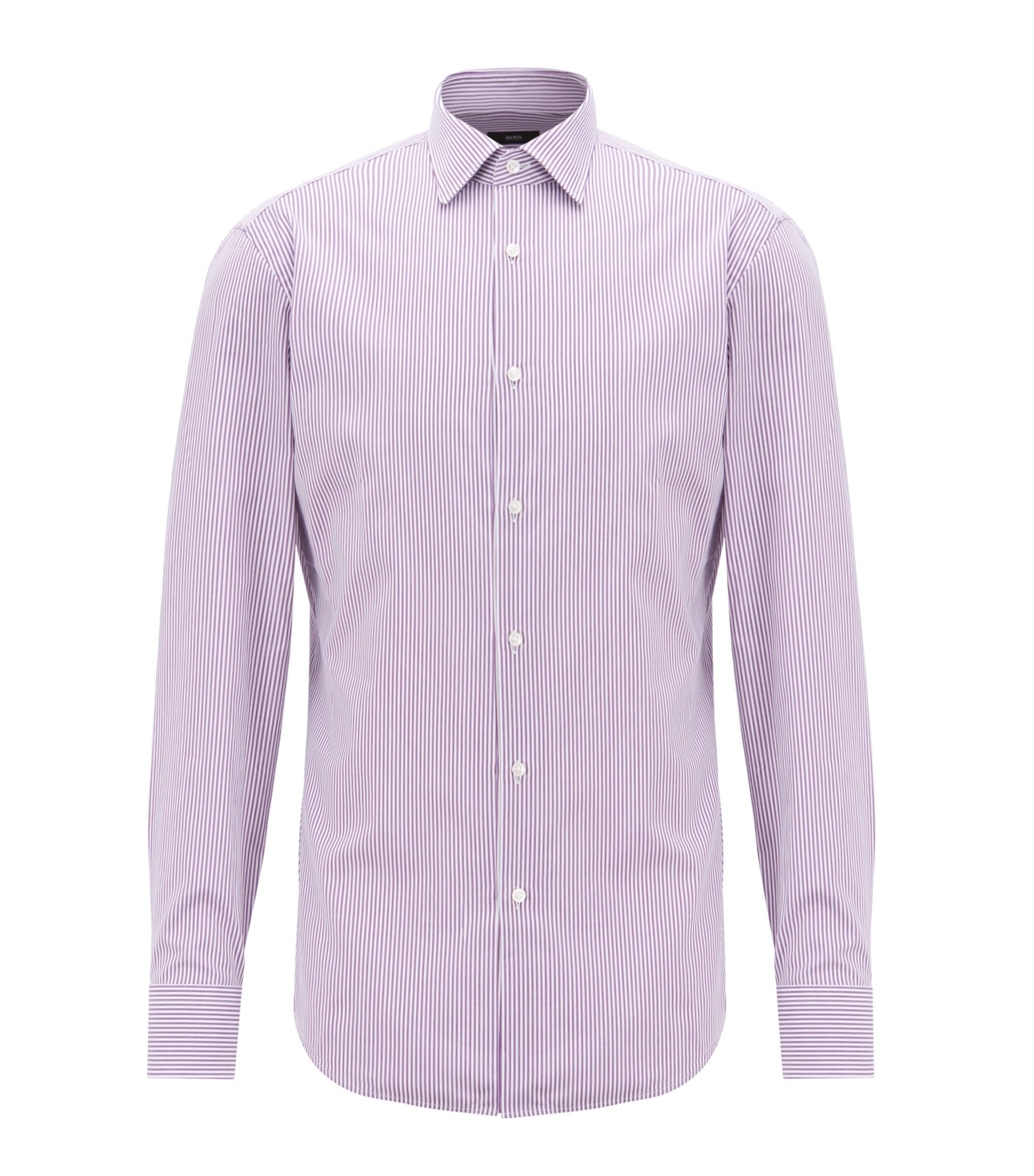 Slim-fit shirt in cotton twill with vertical stripes, Purple