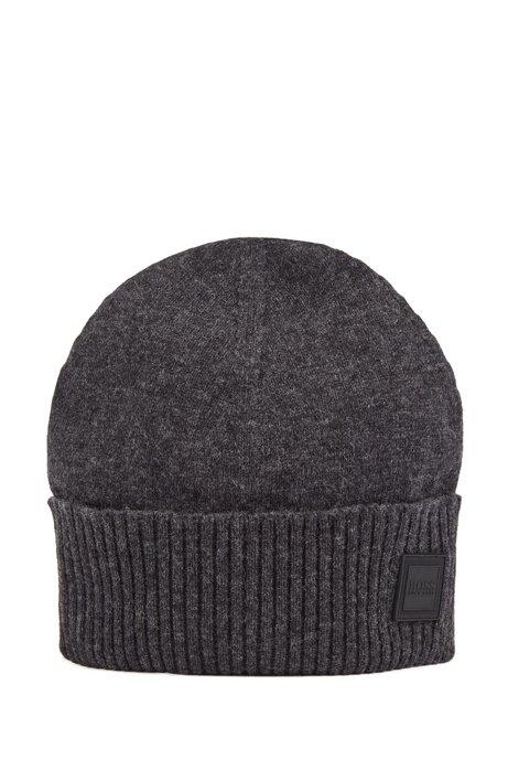 Beanie hat with turnback ribbed hem, Dark Grey