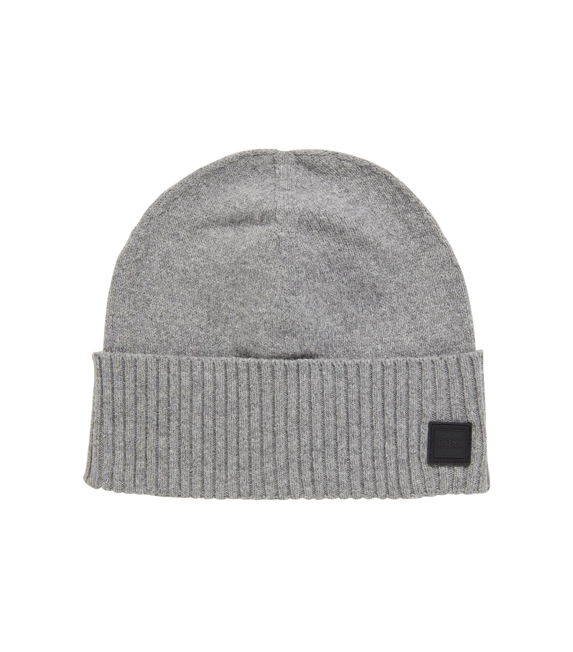 Beanie hat with turnback ribbed hem, Hellgrau