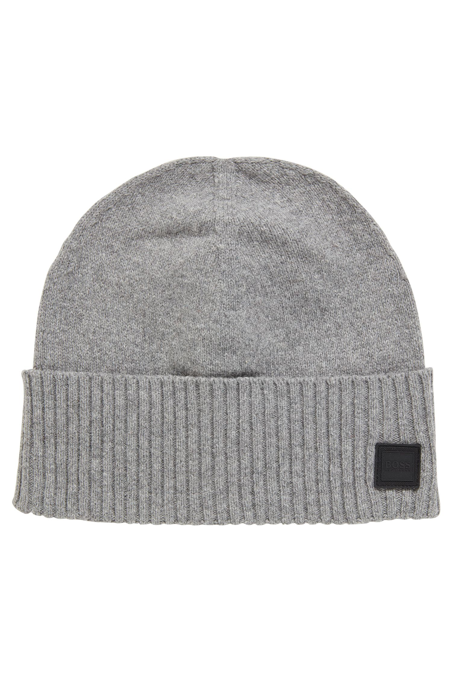 Beanie hat with turnback ribbed hem, Light Grey