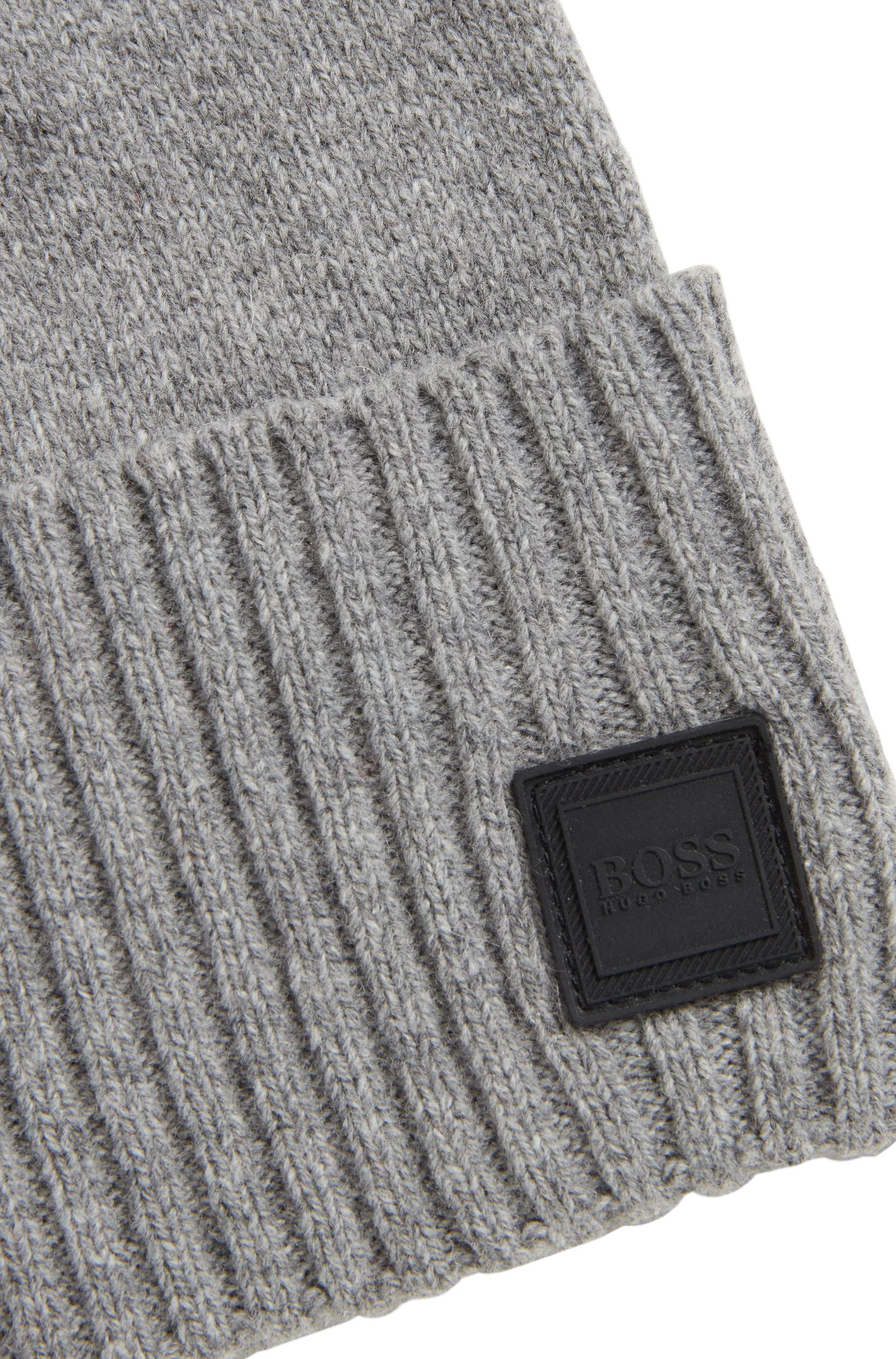 Beanie hat with turnback ribbed hem