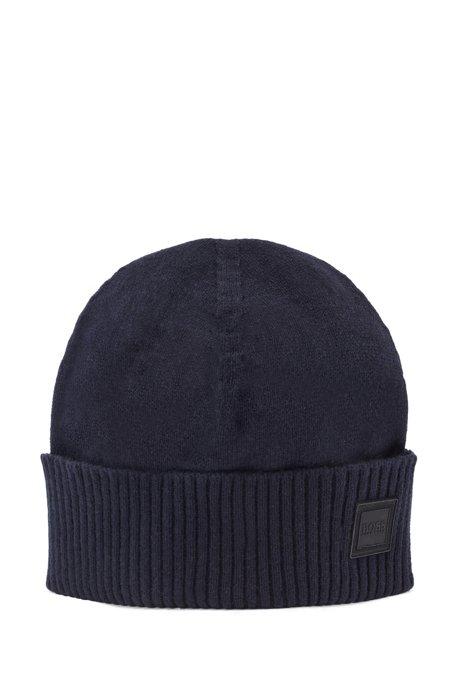 Beanie hat with turnback ribbed hem, Dark Blue