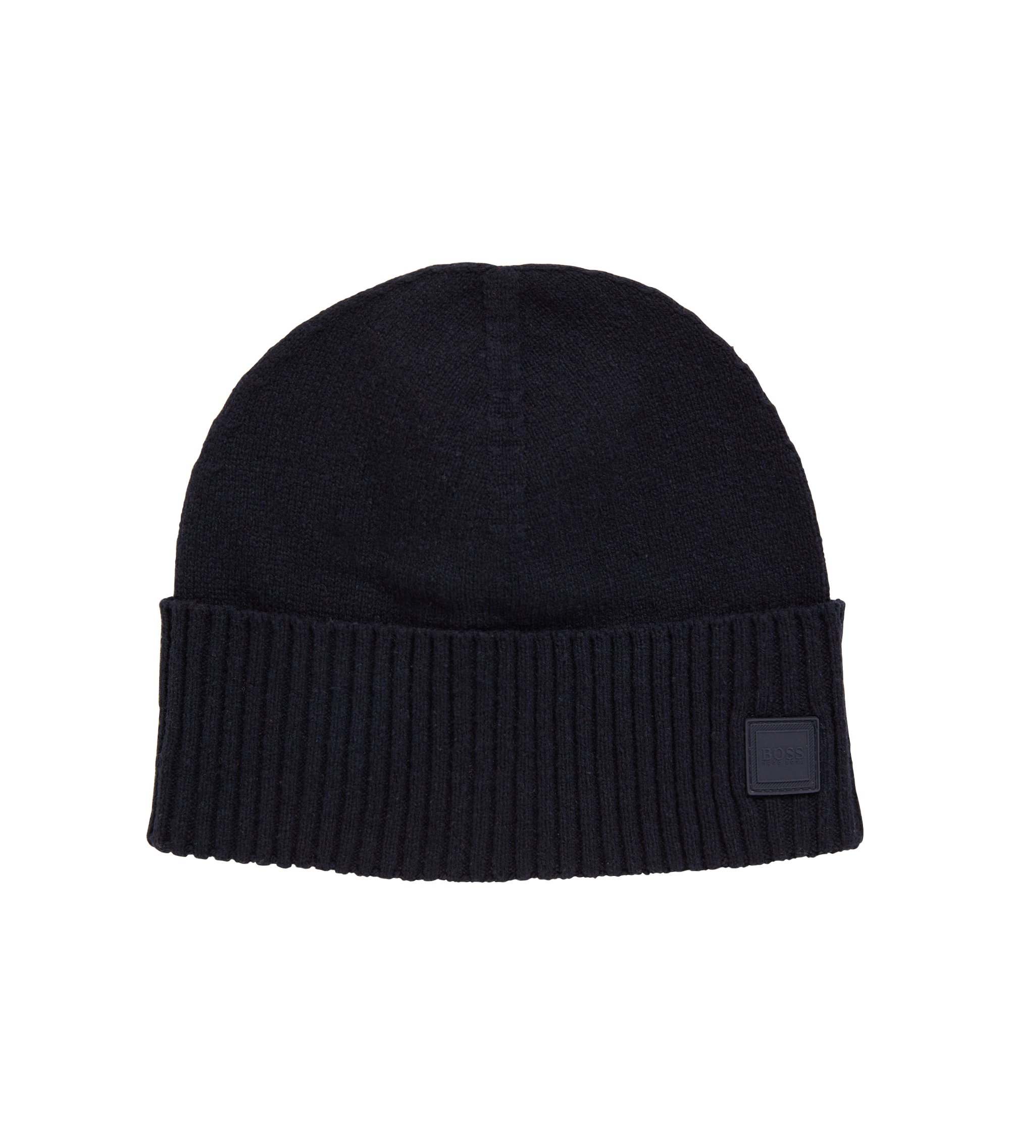 Beanie hat with turnback ribbed hem, Bleu foncé