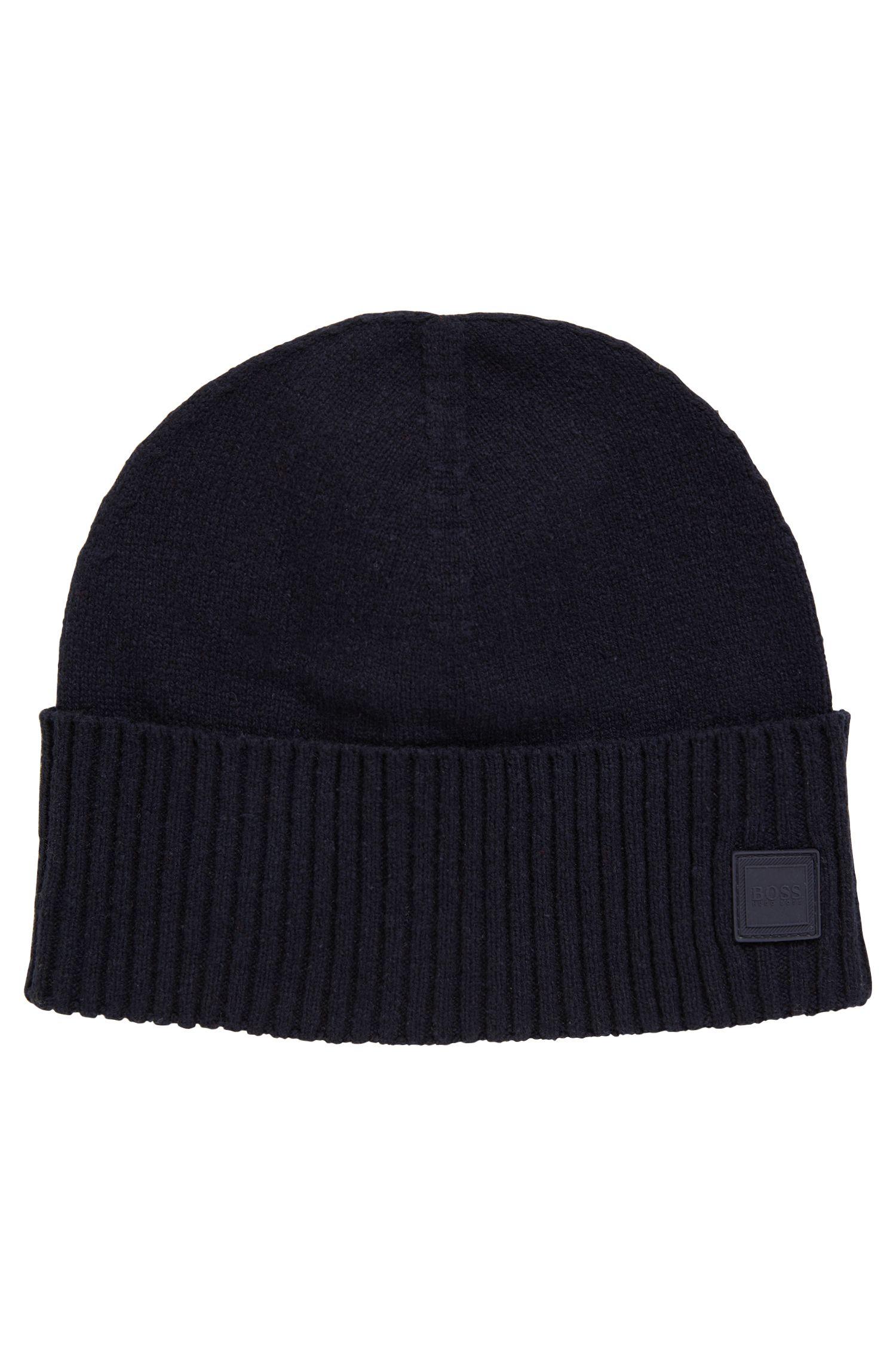 Feinstrick-Mütze mit geripptem Saumaufschlag, Dunkelblau