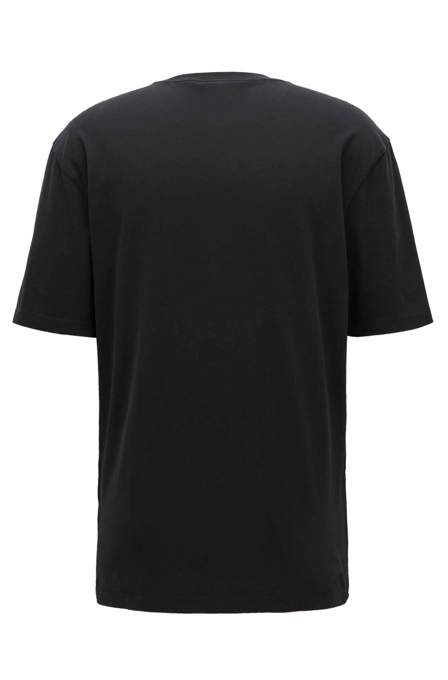 Crew-neck T-shirt in peached single-jersey cotton, Black